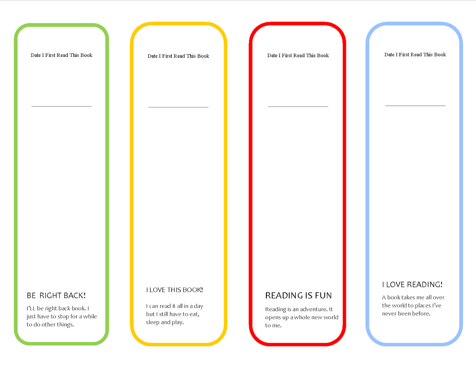 printable bookmarks new