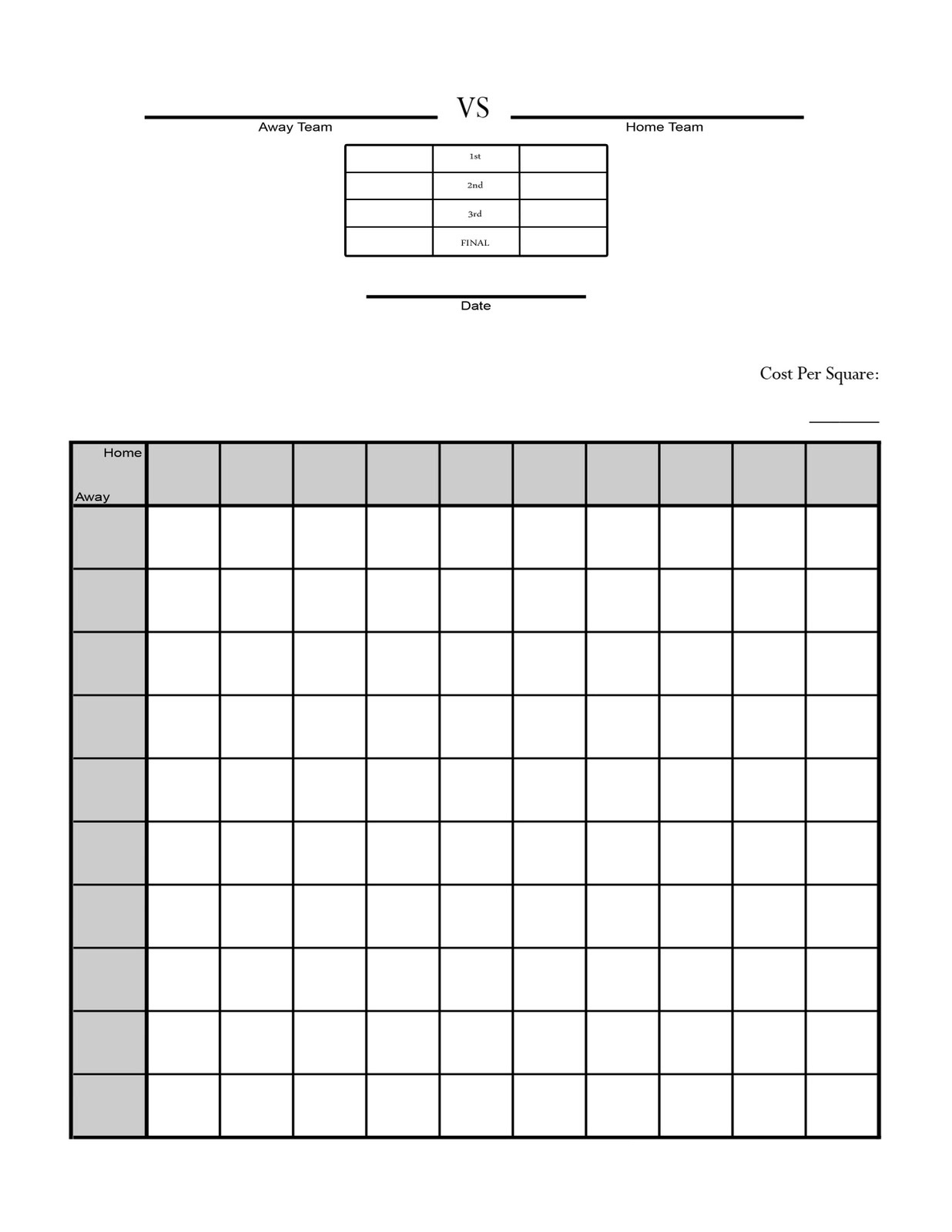 Search results for super bowl square sheet printable for Block pool template