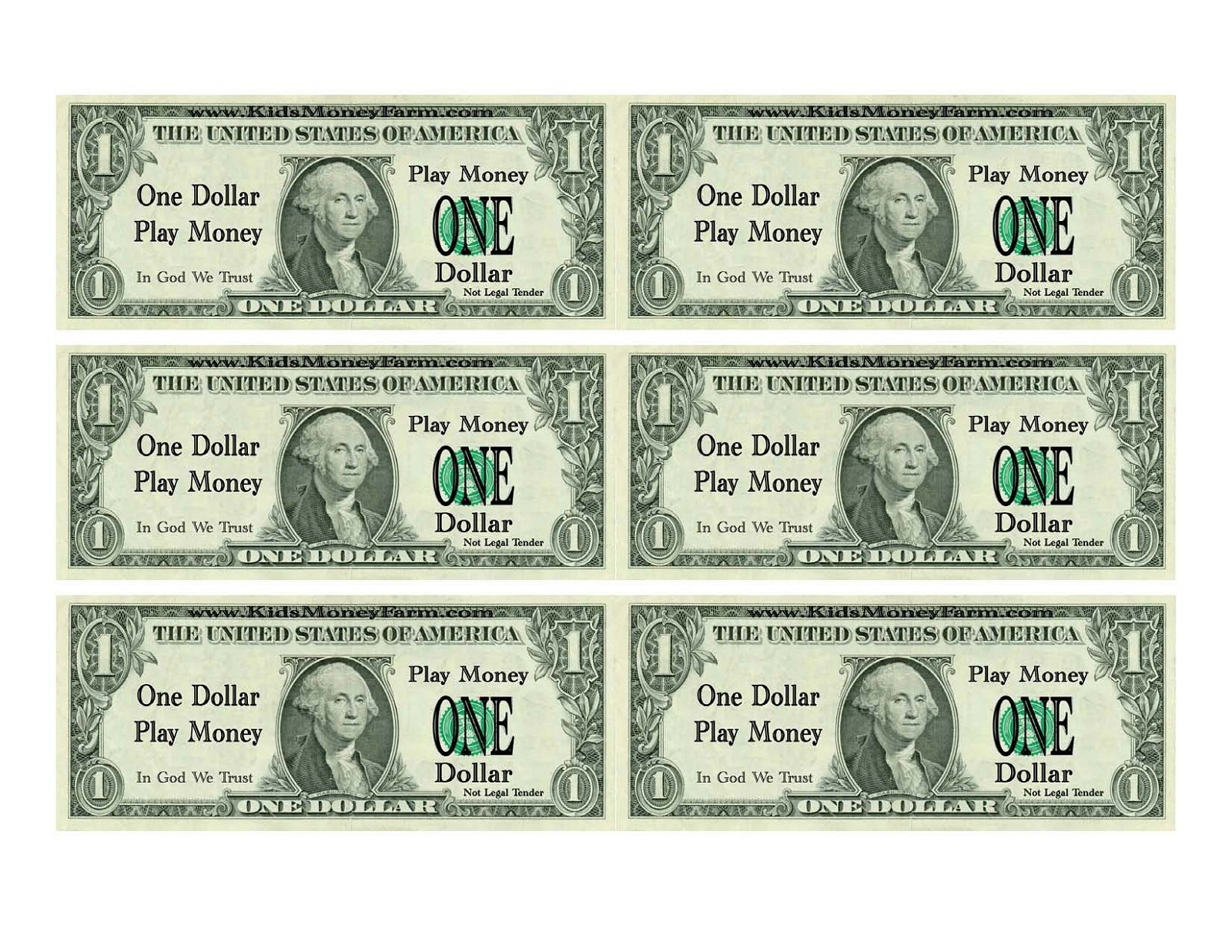 printable play money dollar