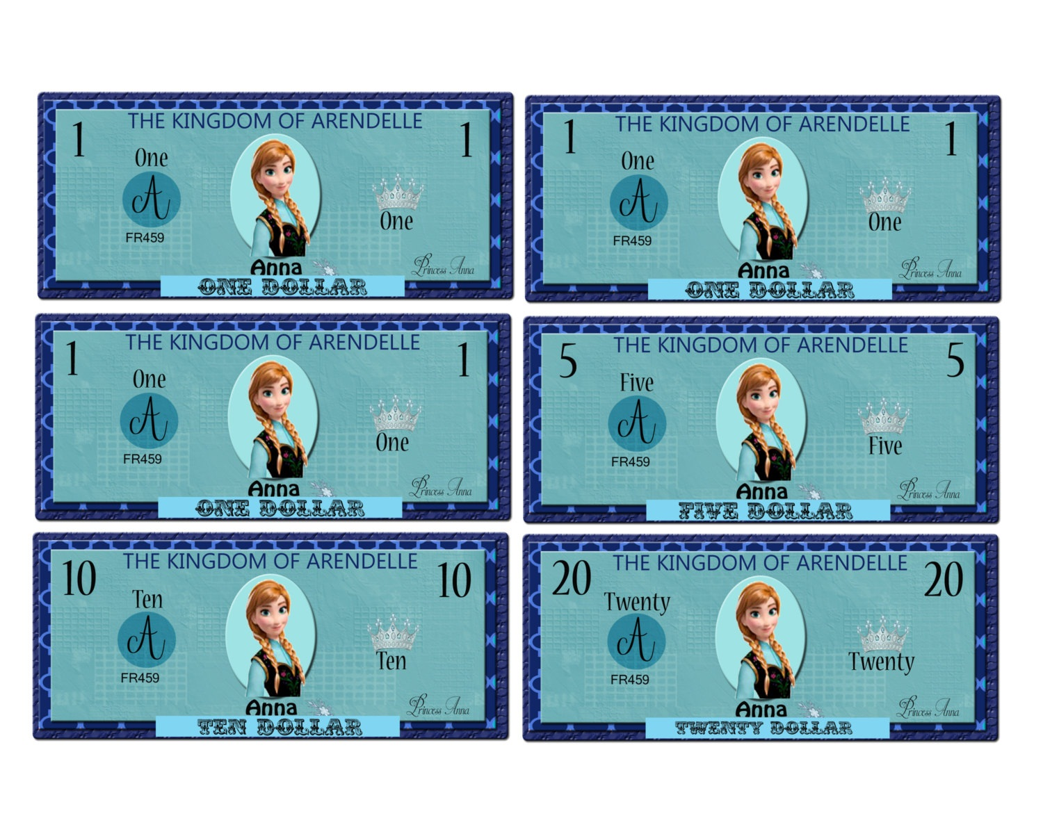 printable play money frozen