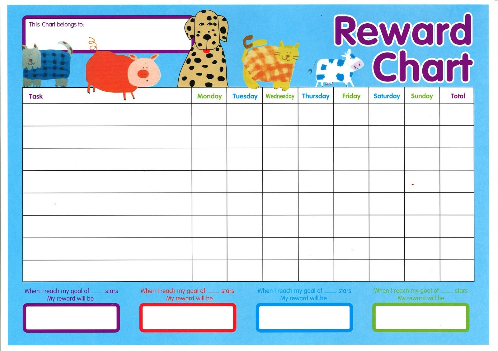 Printable Reward Chart For Kids Maps
