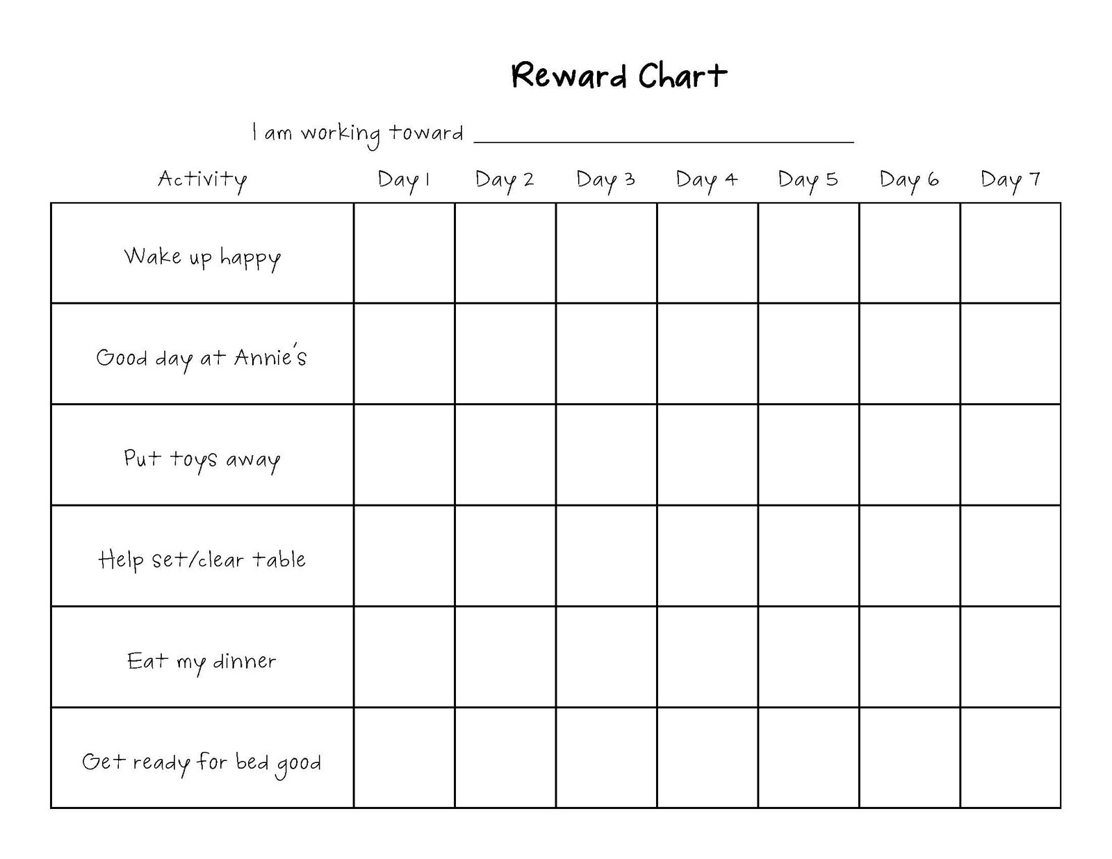 printable reward chart simple