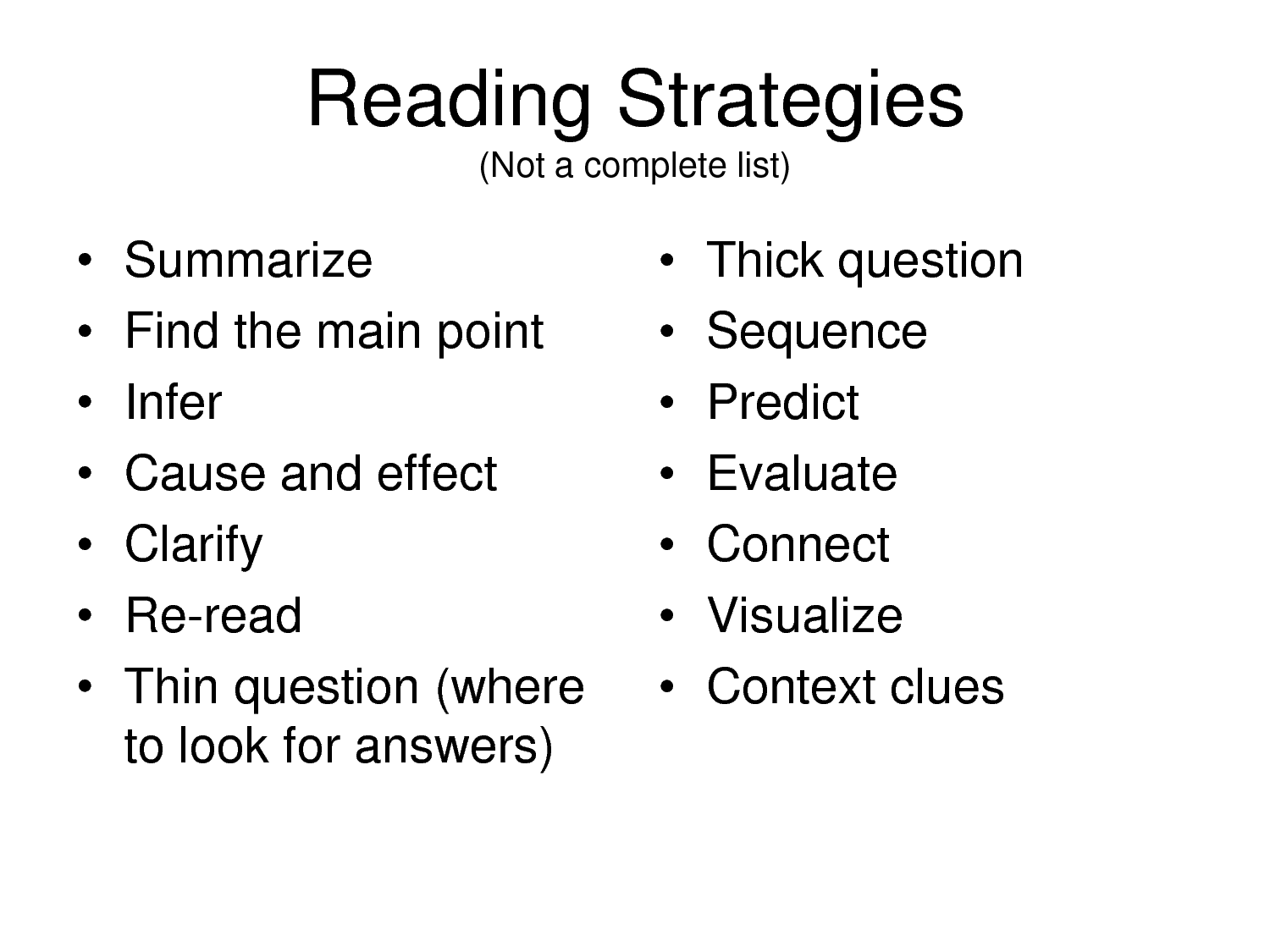 reading strategies printable