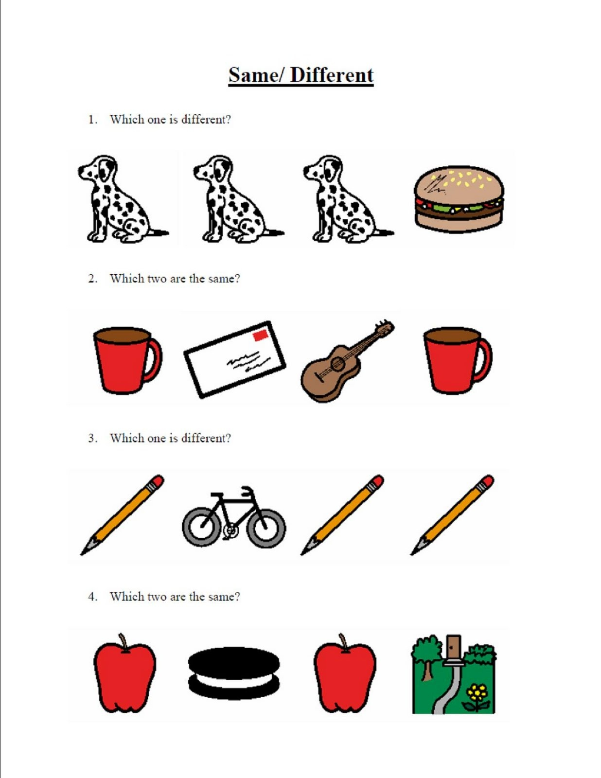 Same and Different Worksheets for Kids – Same Different Worksheets