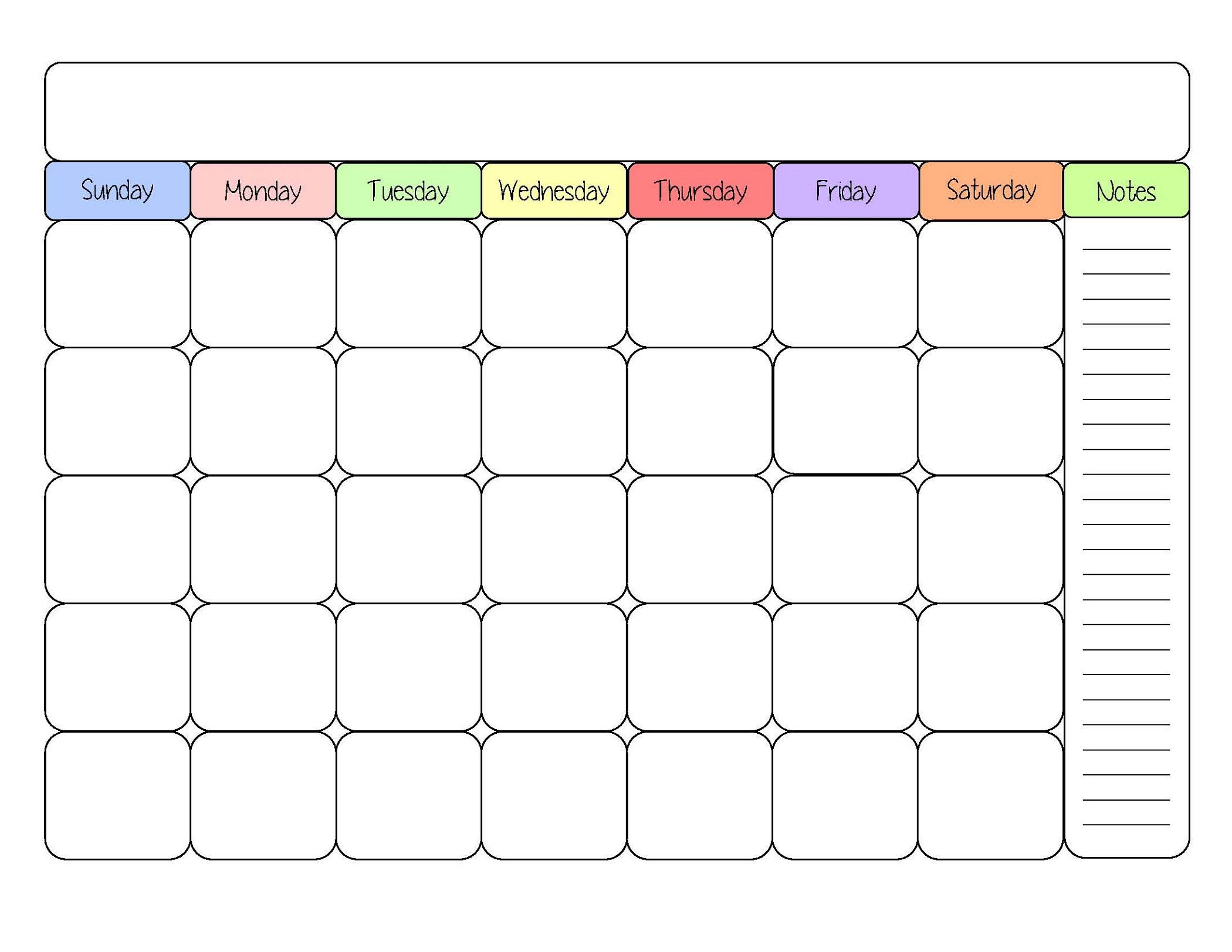 sample calendar colour