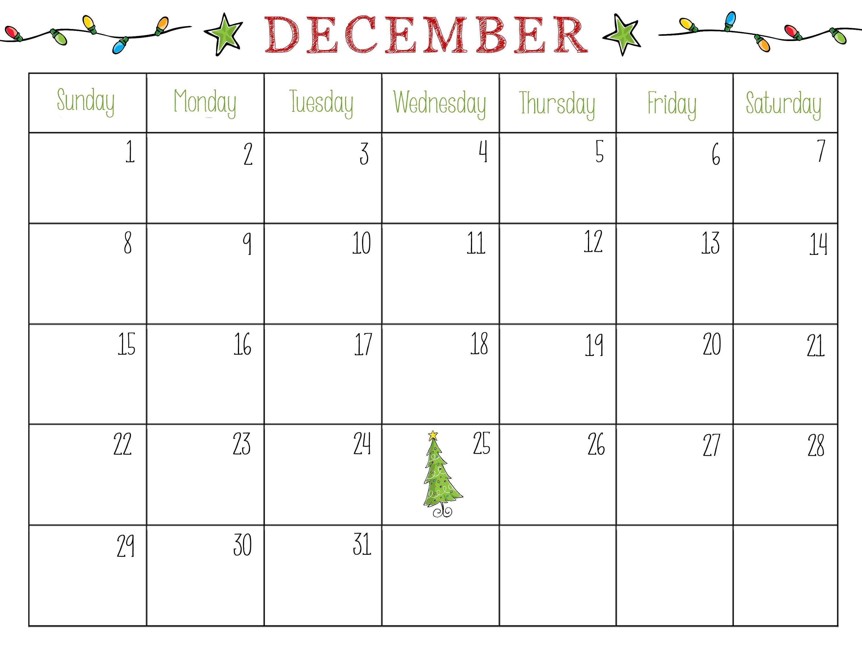 sample calendar december