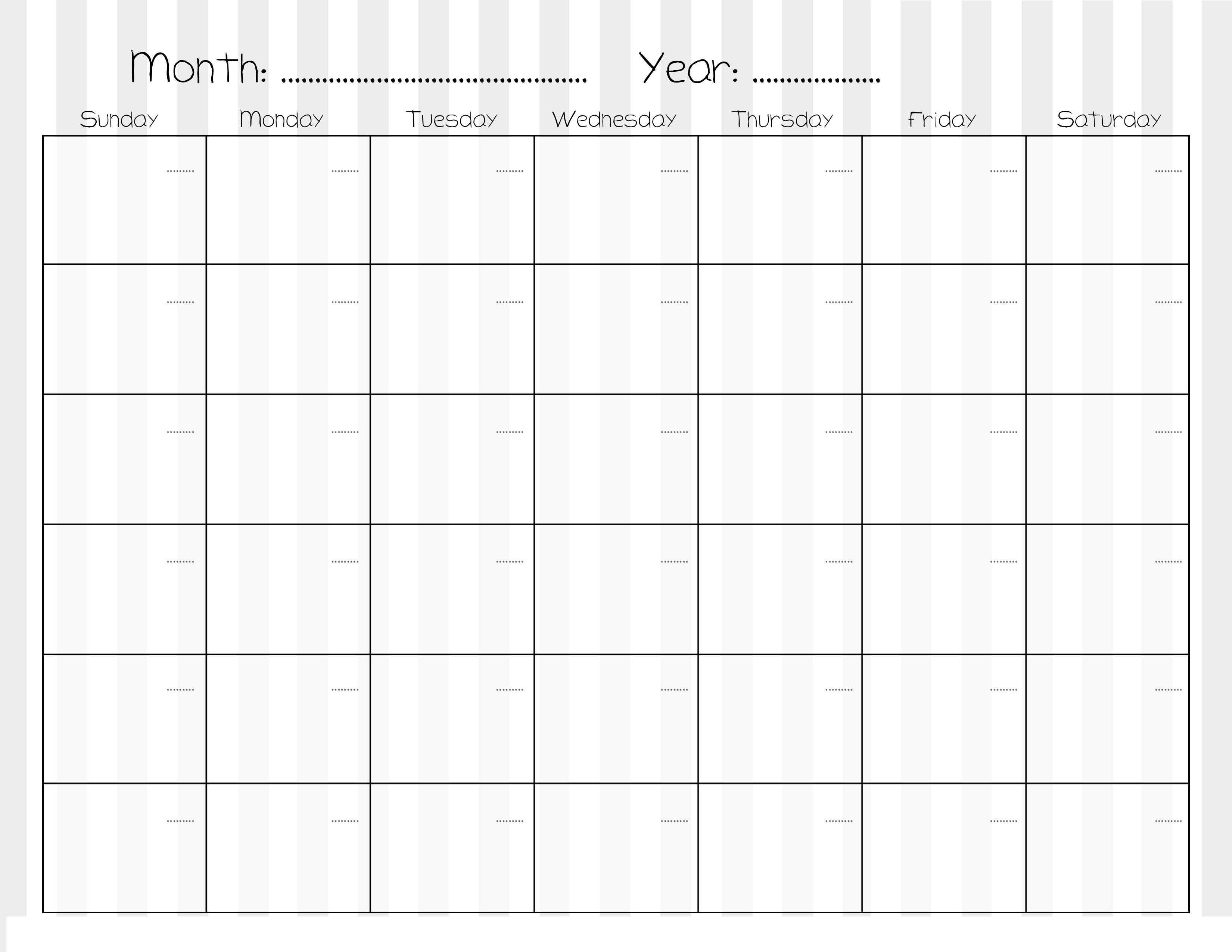 Calendar Monthly A : Sample calendars to print activity shelter