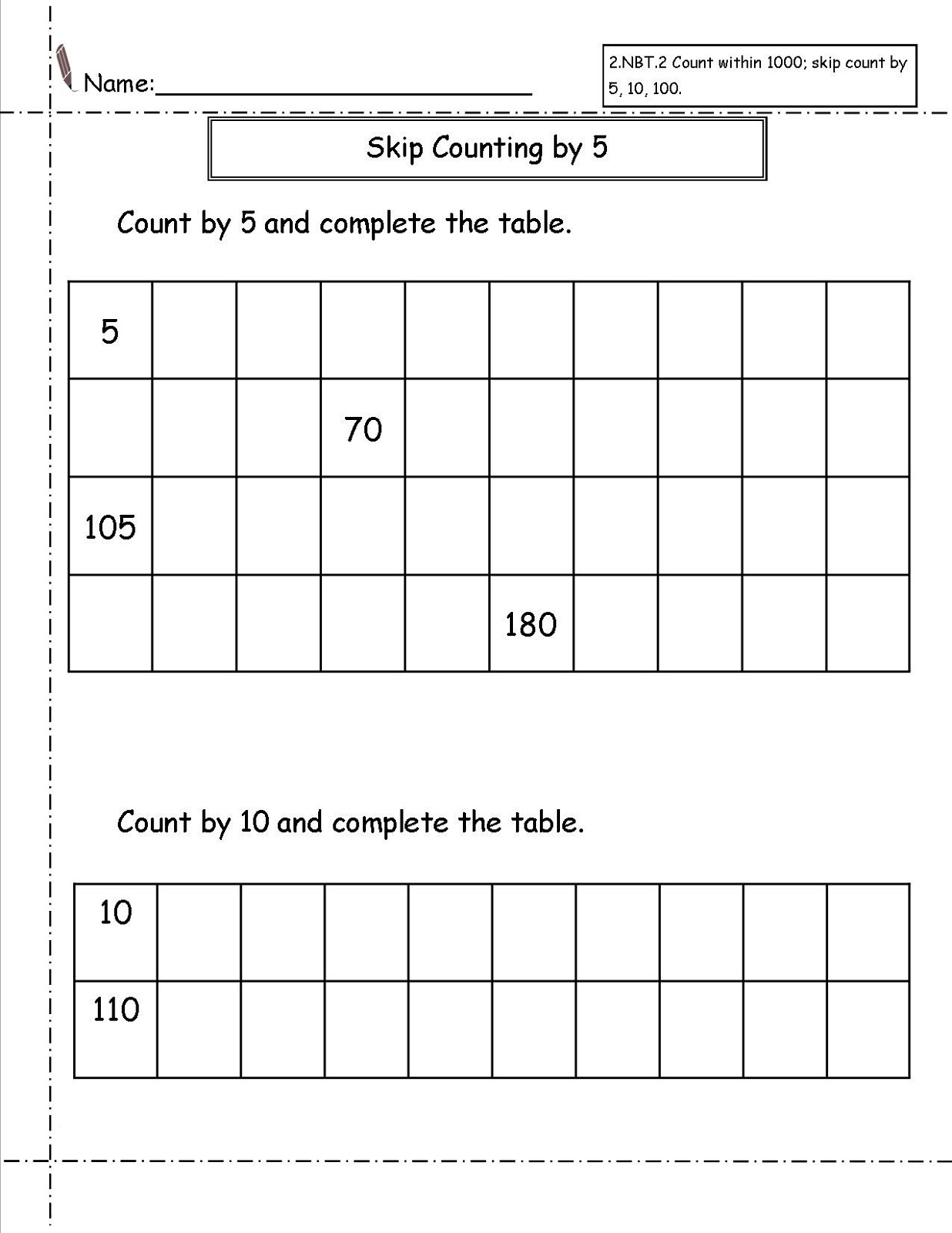 skip count worksheets for second grade