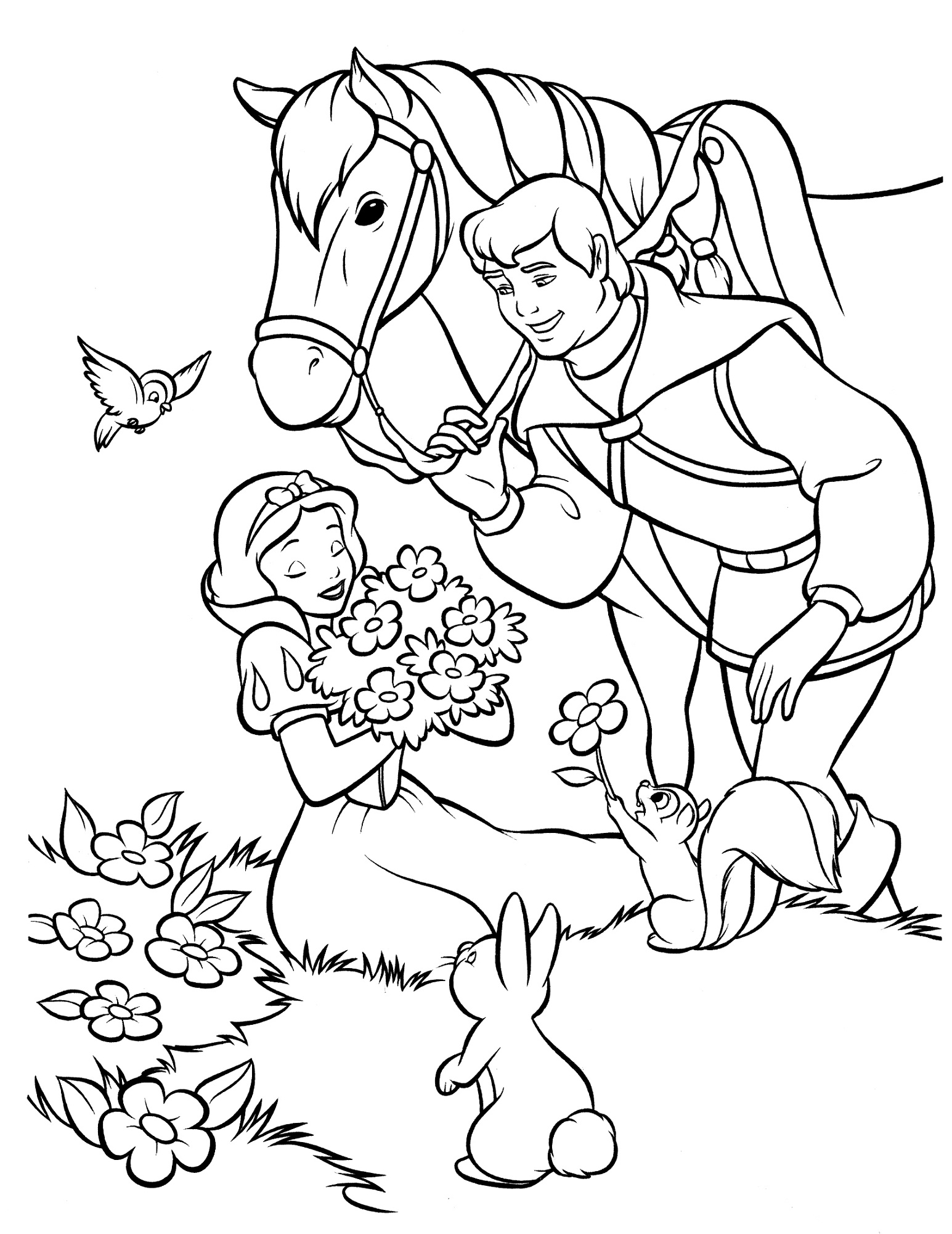 snow white color pages for print