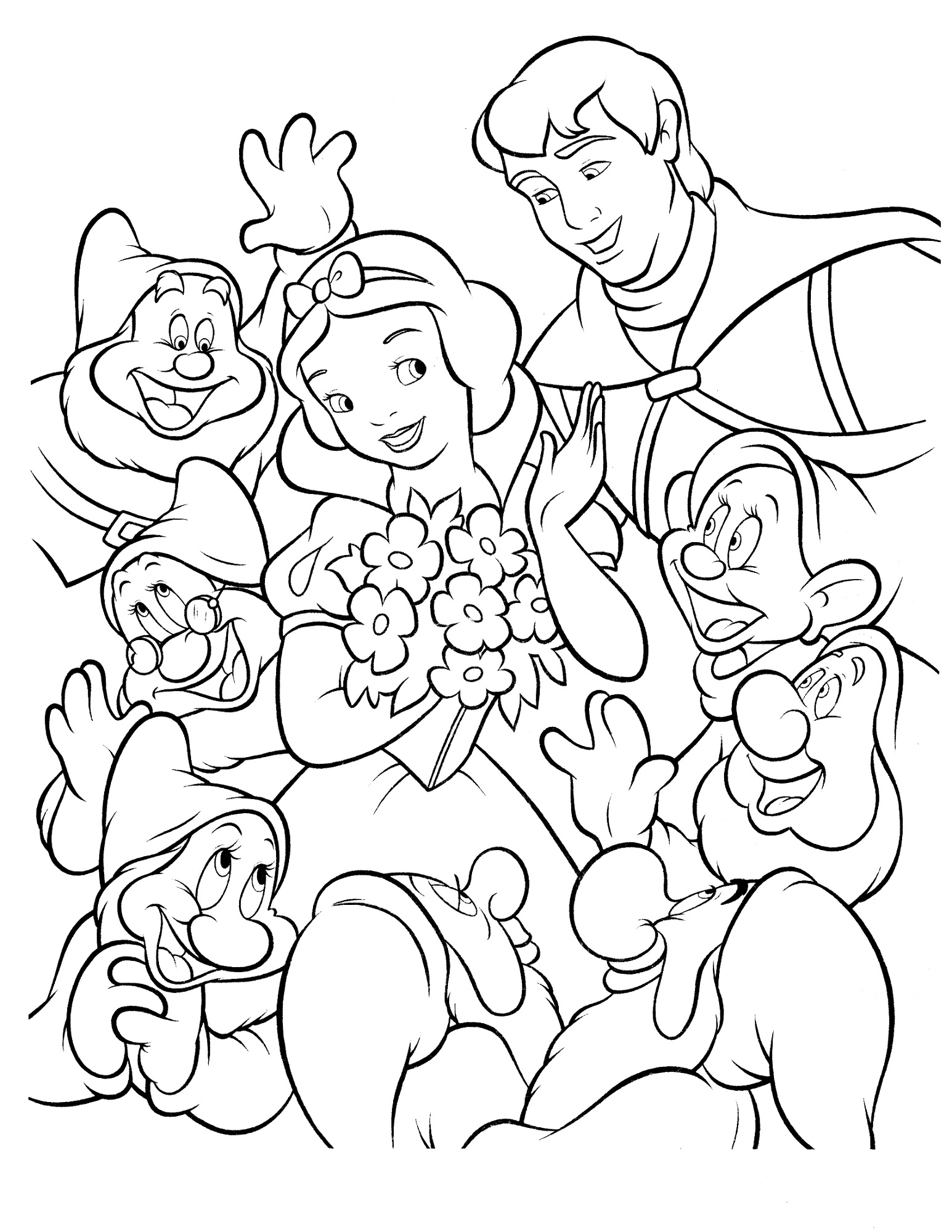 Snow white color pages to print activity shelter for Color pages com