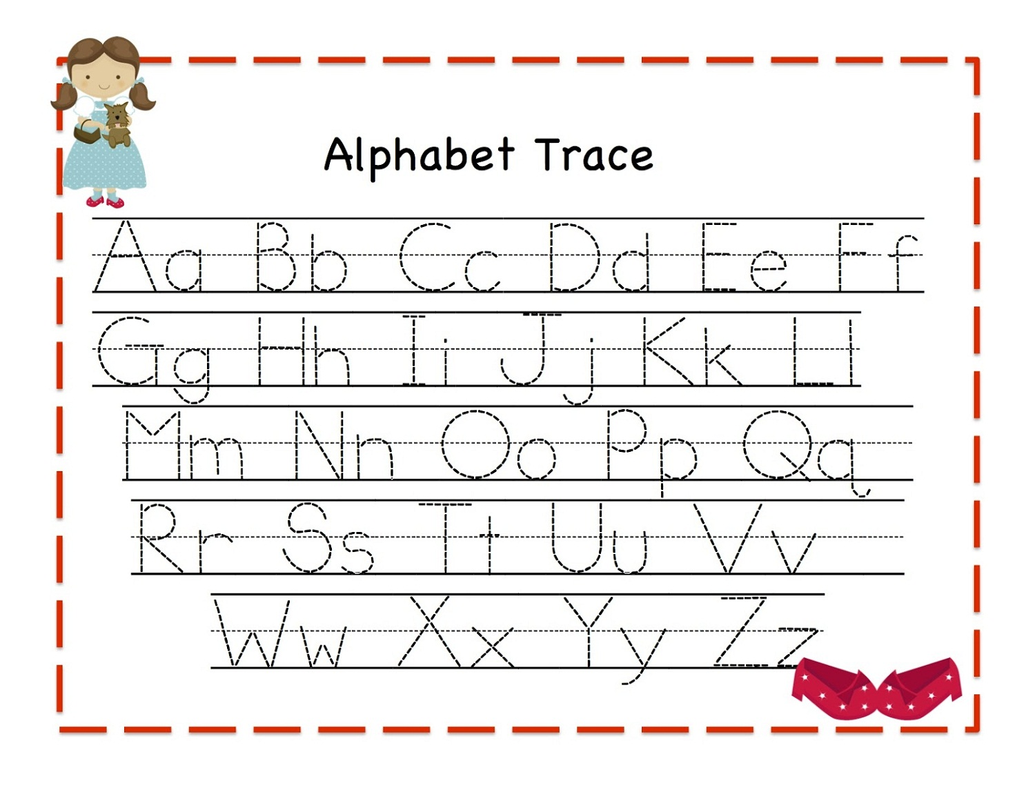 Worksheets Trace Alphabet trace alphabet letters for children activity shelter funny