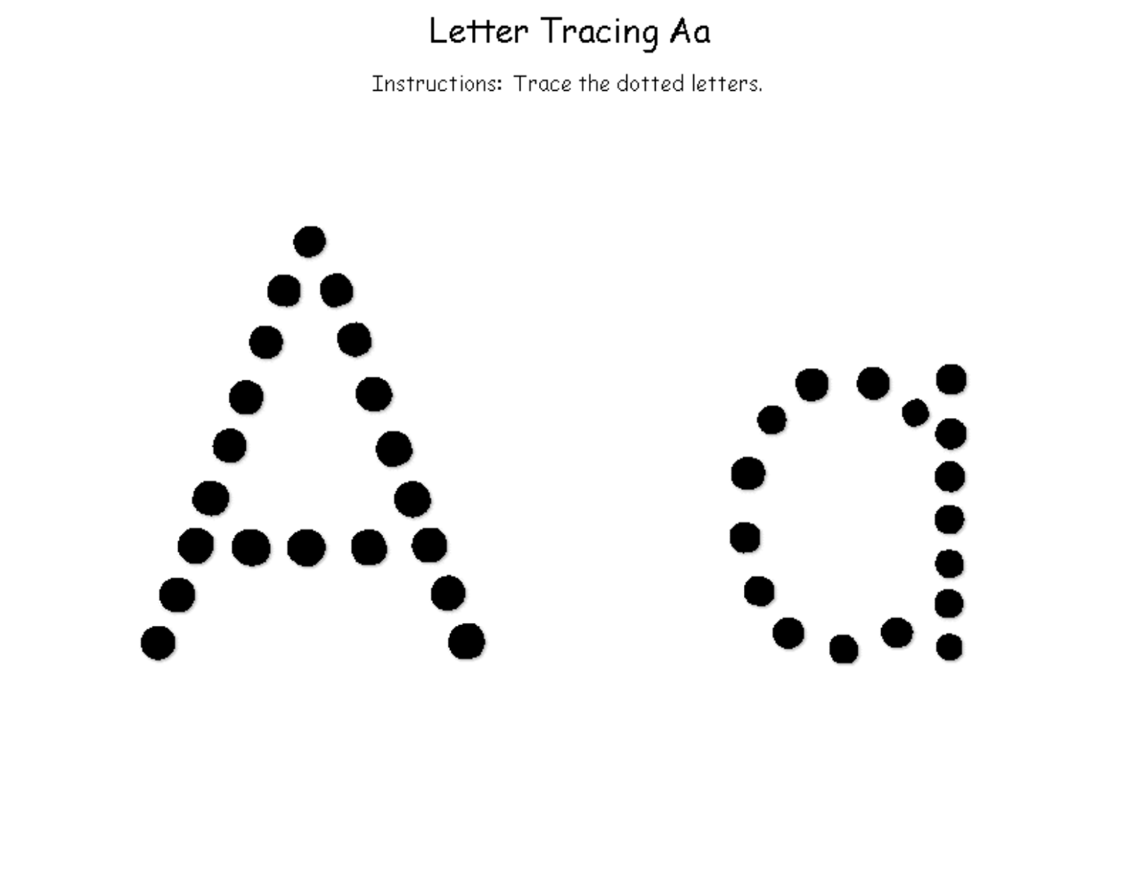 trace letter a for children