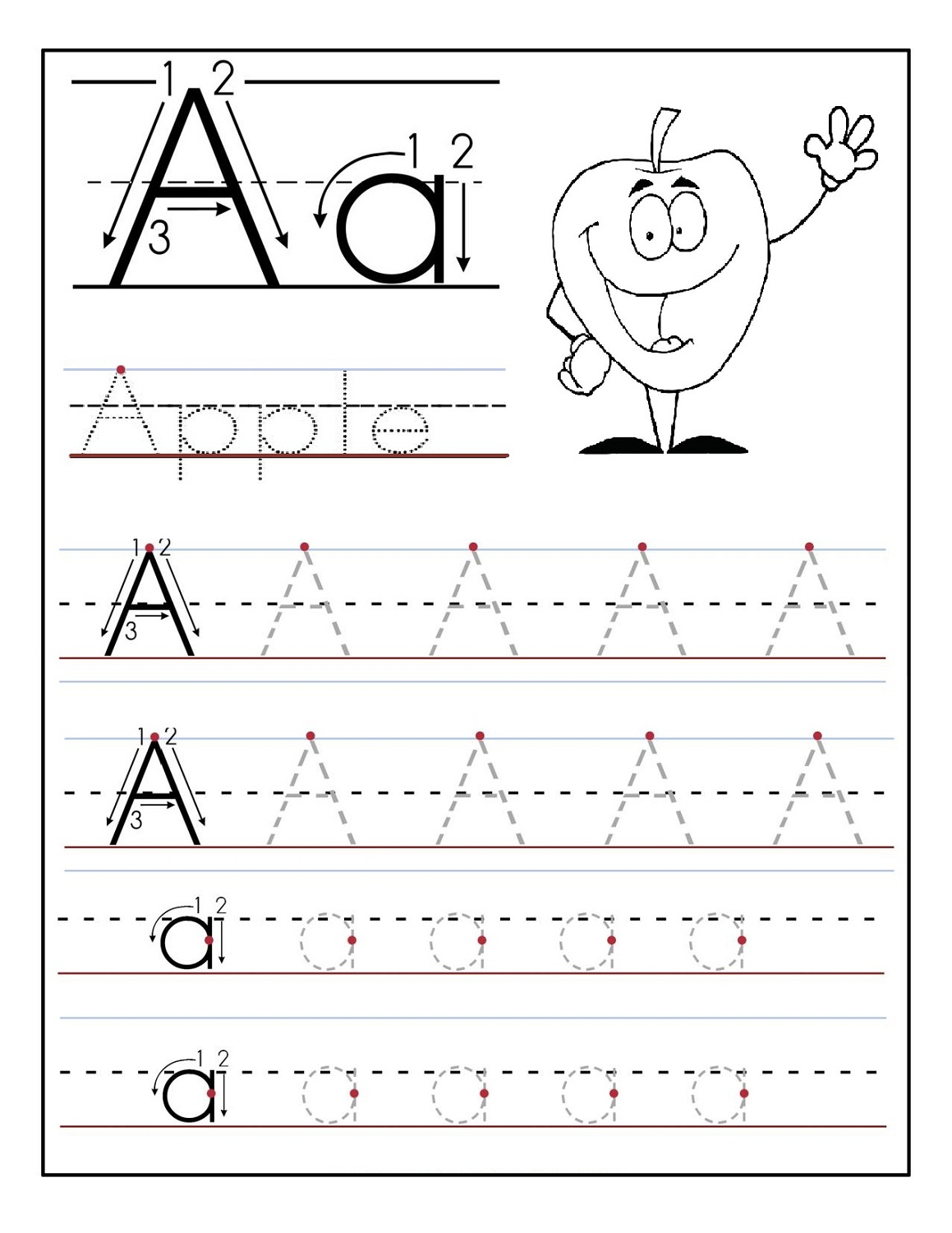Trace Letter A Sheets to Print | Activity Shelter
