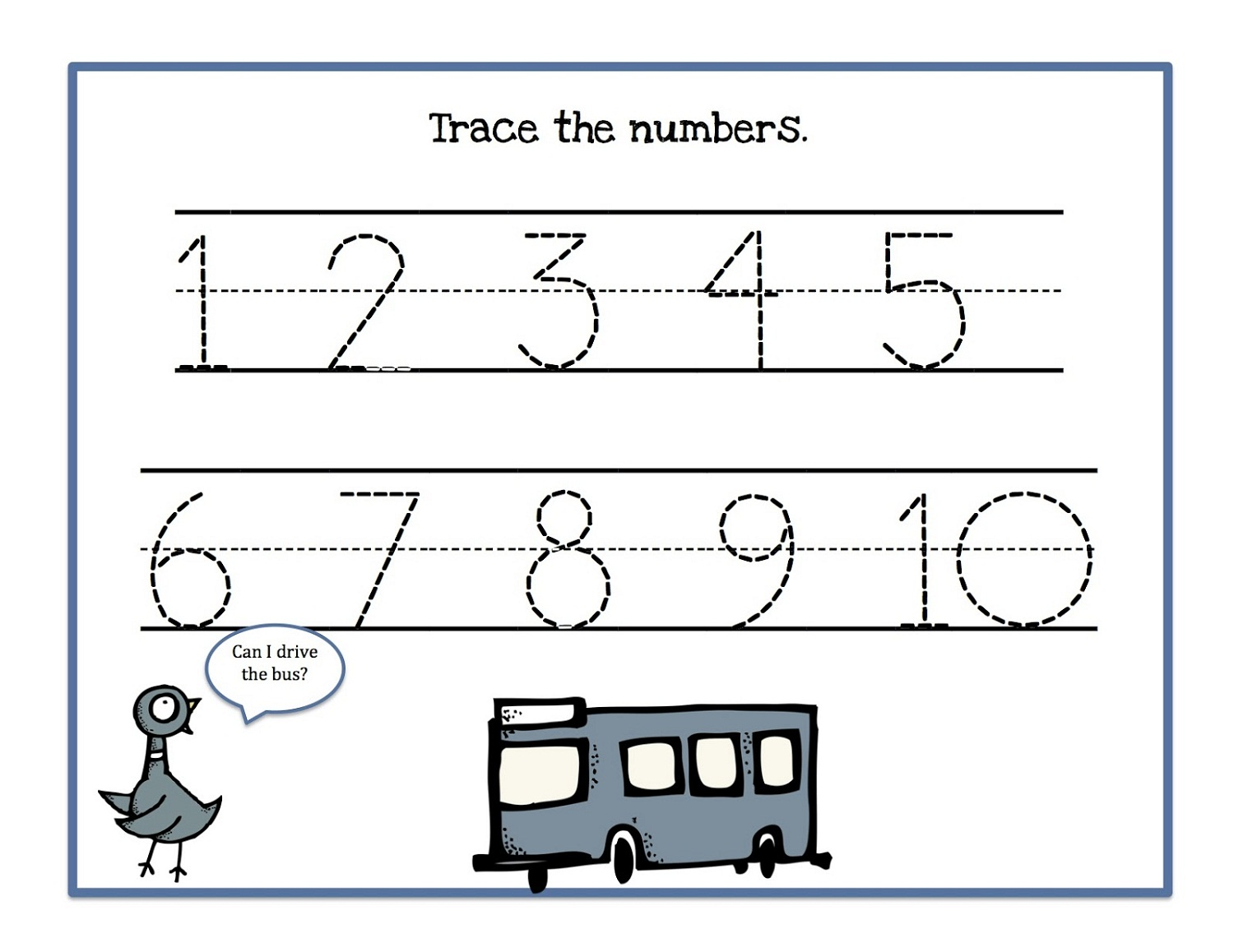 tracing numbers 1-10 for kids