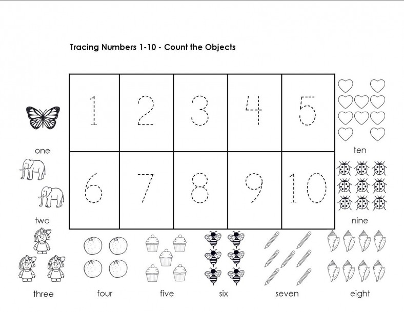 tracing numbers 1-10 object