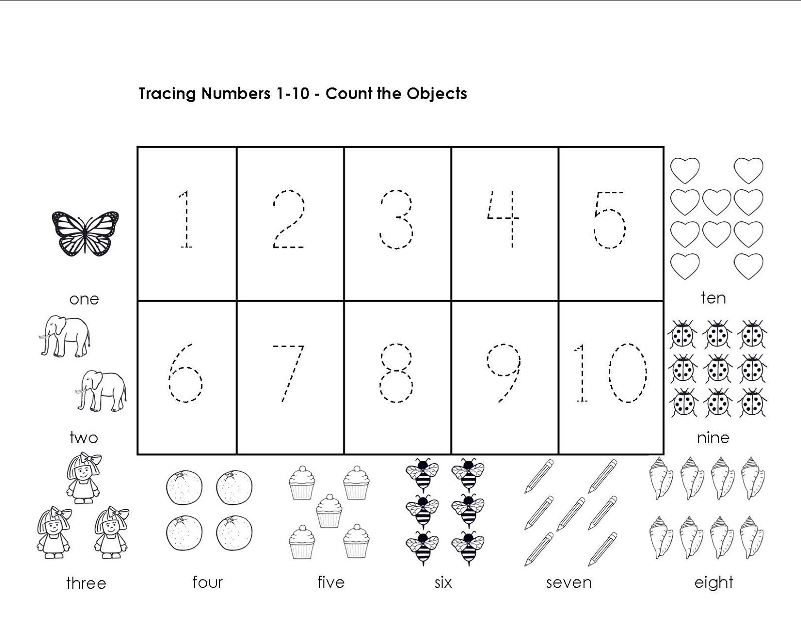 Printables Number Tracing Worksheets 1-10 tracing numbers 1 10 worksheets activity shelter object