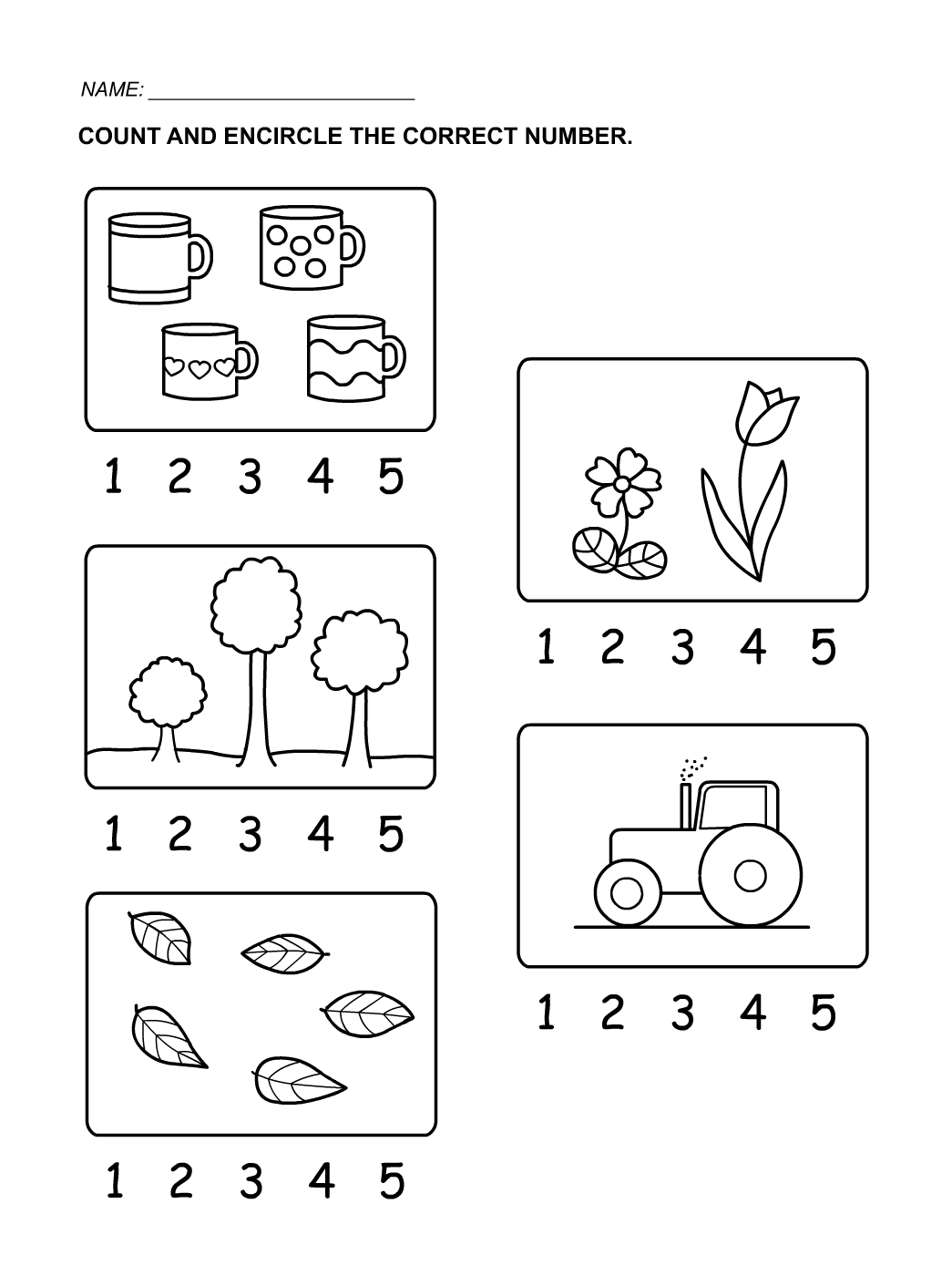 tracing numbers 1-5 count
