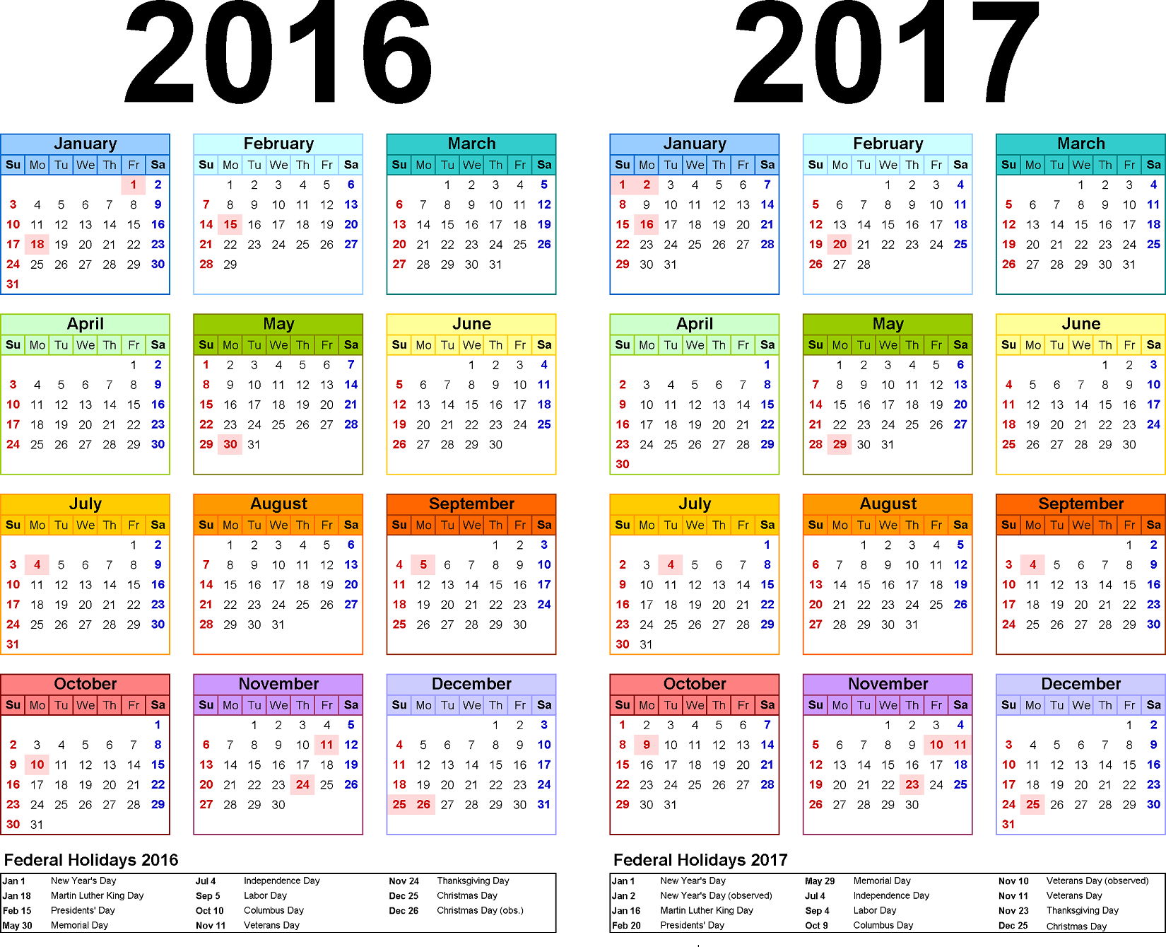 2016 2017 Yearly Calendar With Holidays