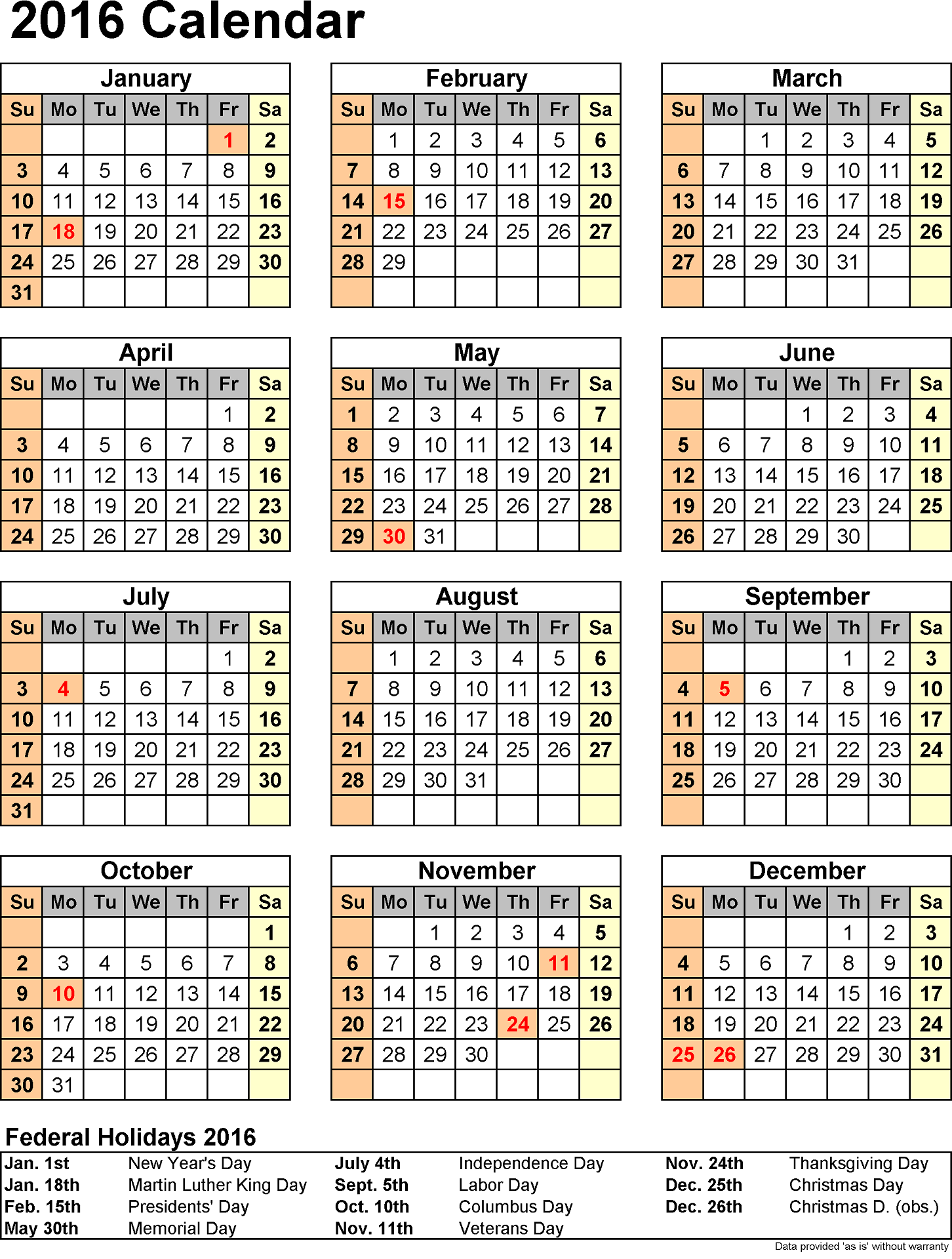 2016 Yearly Calendar With Holidays Printable