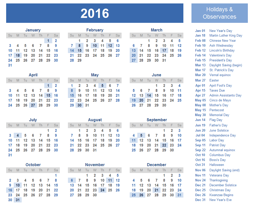 2016 Yearly Calendar With Holidays and Observances