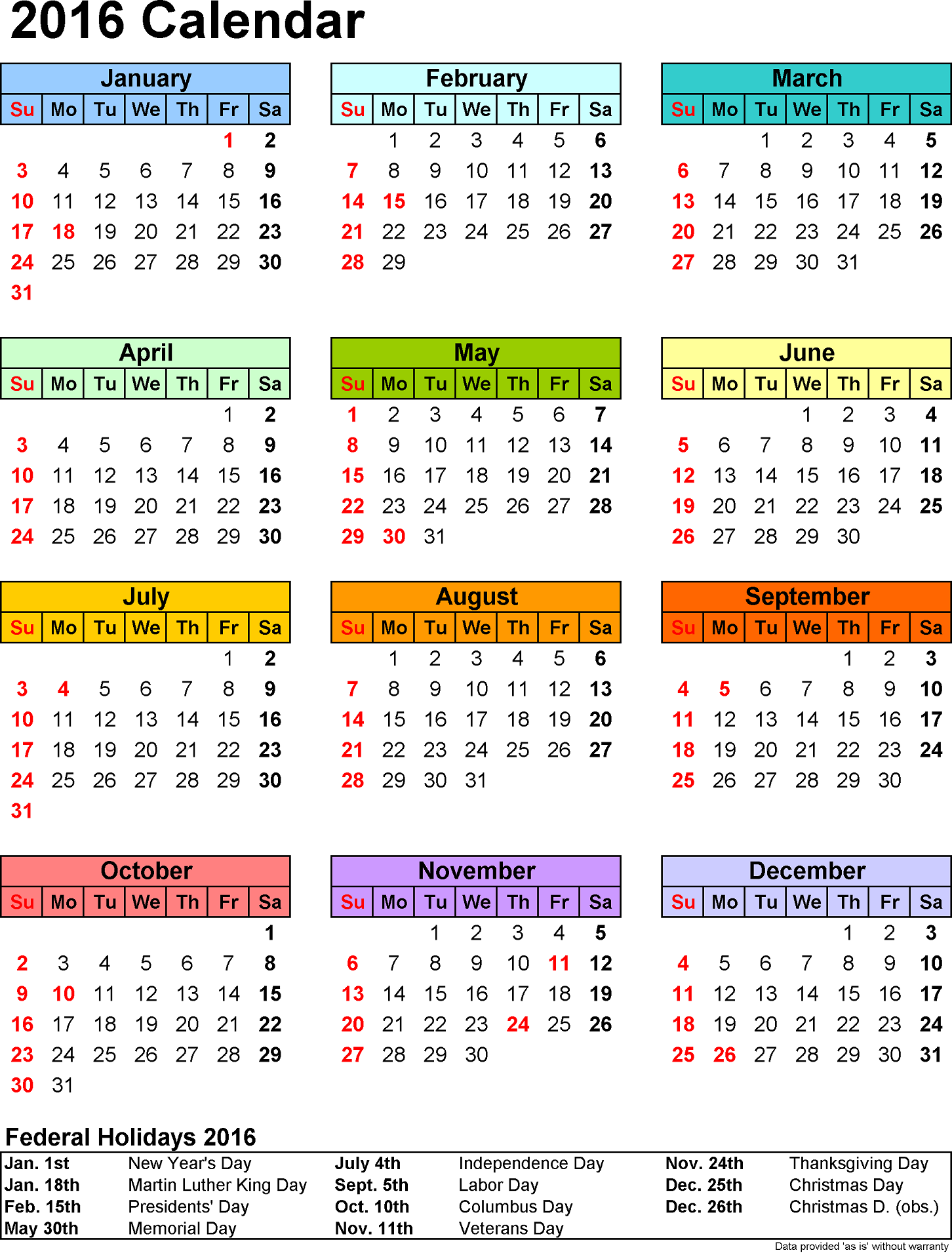 2016 Yearly Calendar With Holidays free
