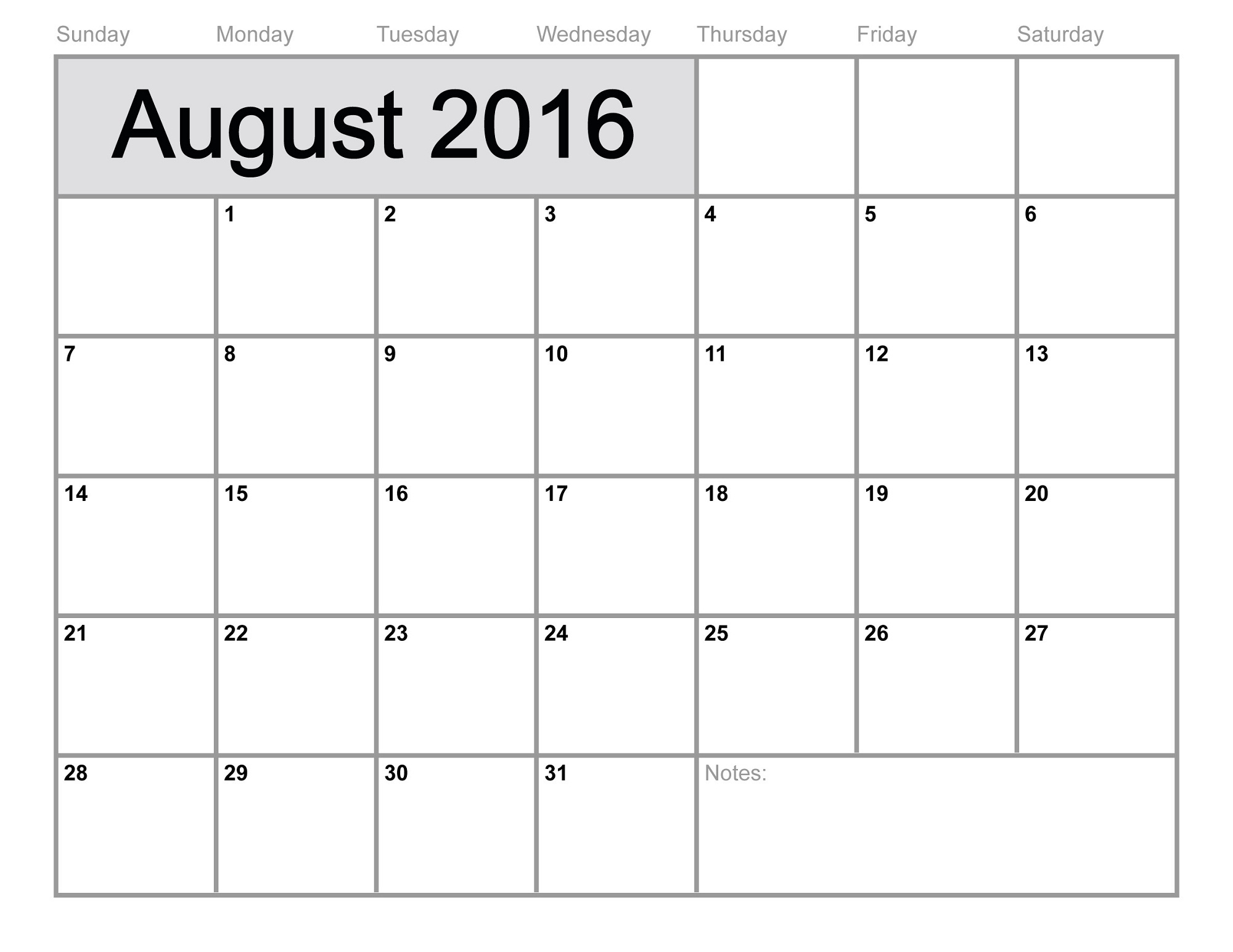 2016 monthly calendar printable august