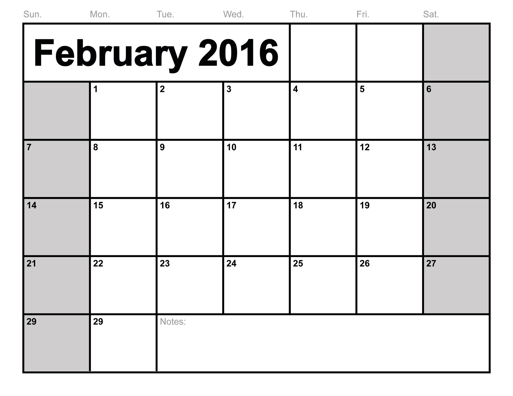 2016 monthly calendar printable february