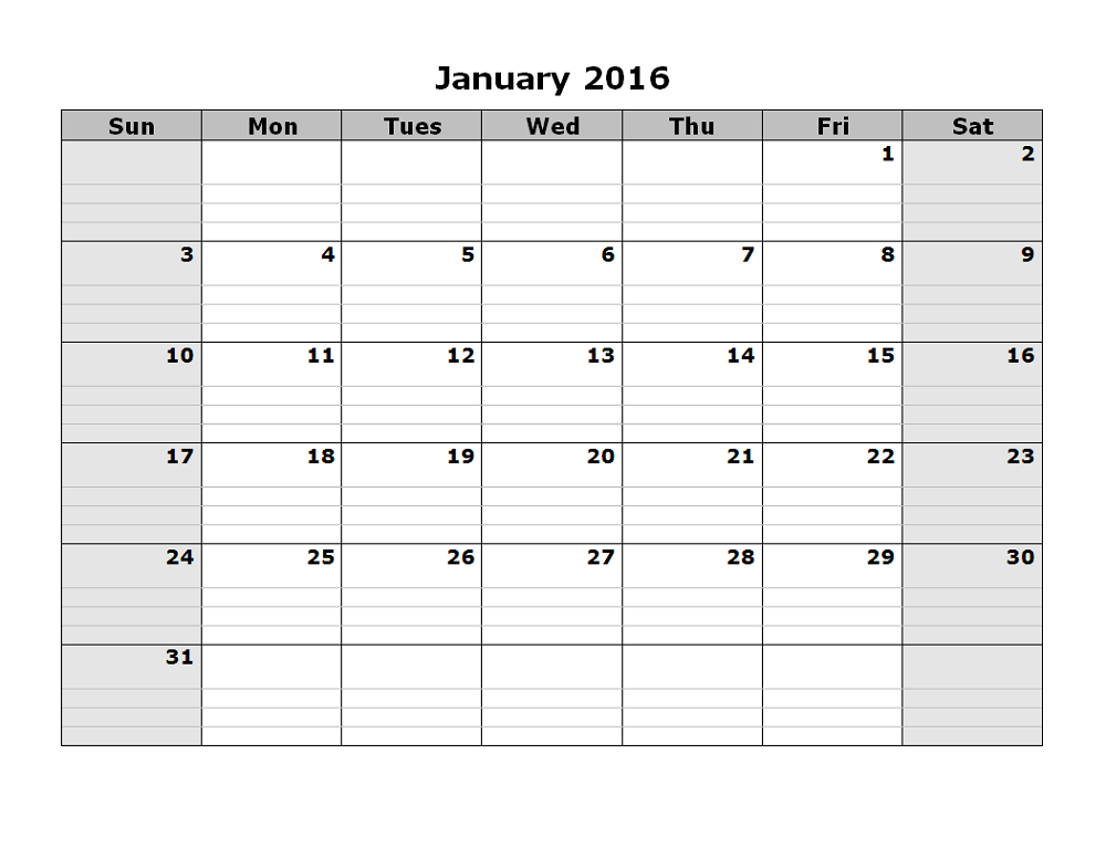 2016 monthly calendar printable january