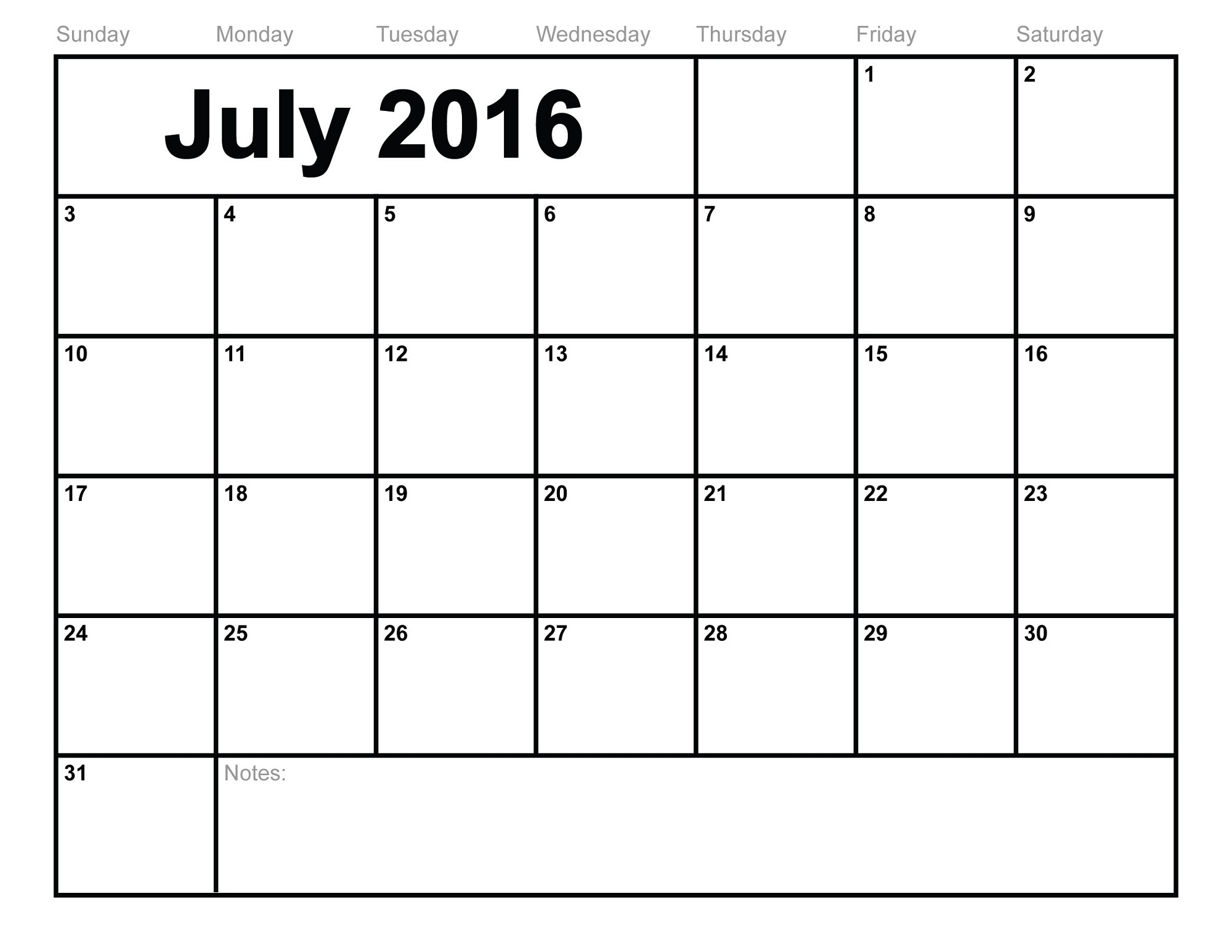 2016 monthly calendar printable july