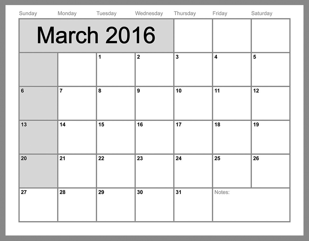 2016 monthly calendar printable march