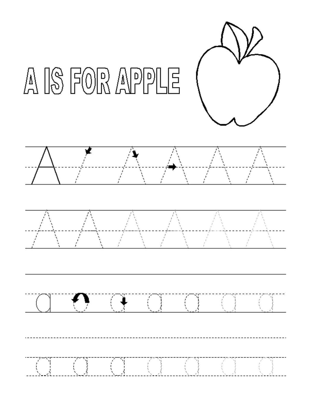 alphabet tracing pages letter A