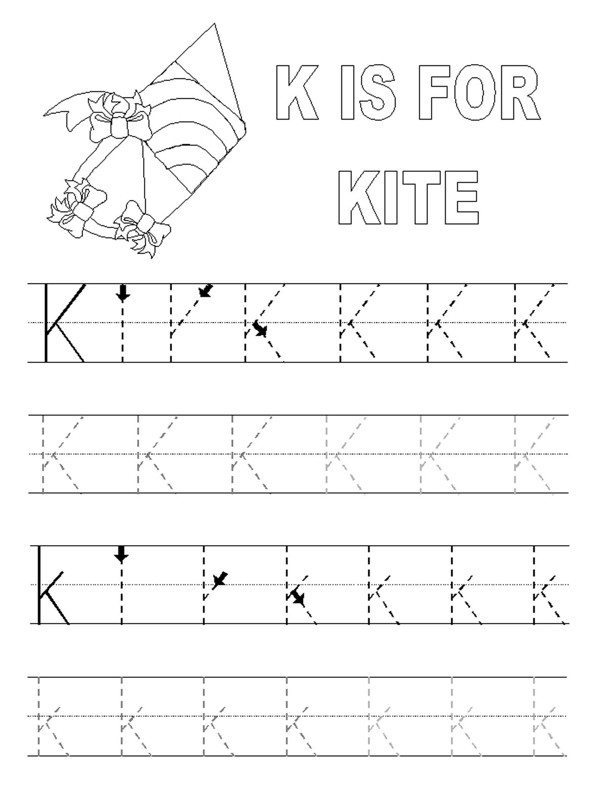 alphabet tracing pages letter K