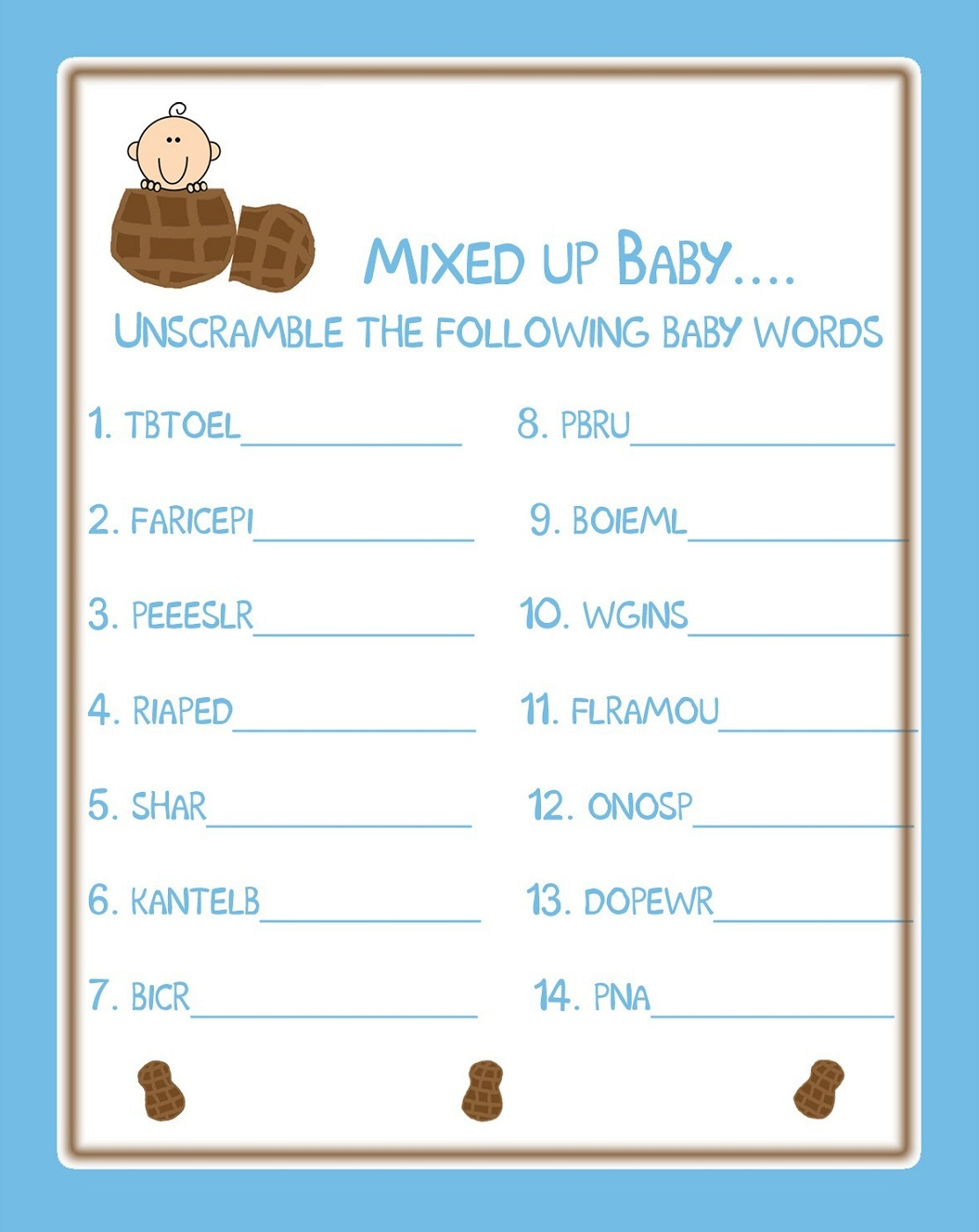 baby shower word scramble 2016