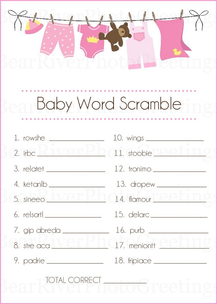 photograph about Free Printable Baby Shower Games Word Scramble titled Youngster Shower Words and phrases Scrambles Printable Recreation Shelter