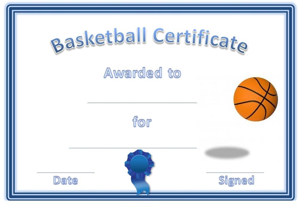 basketball award certificates blue