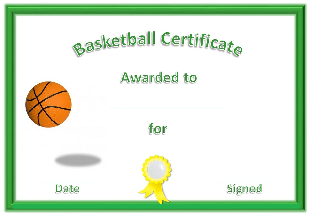 basketball award certificate to print