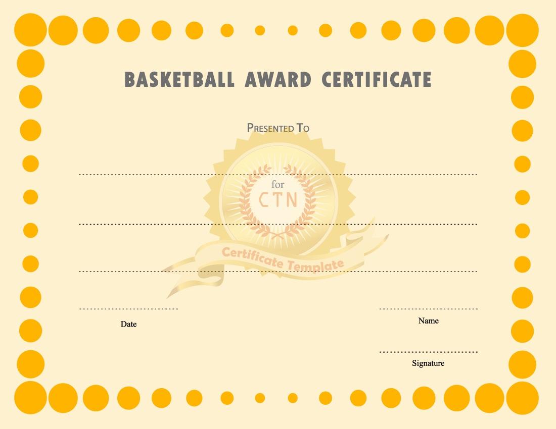 basketball award certificates new