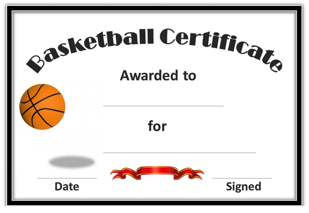 Basketball Award Certificate To Print | Activity Shelter
