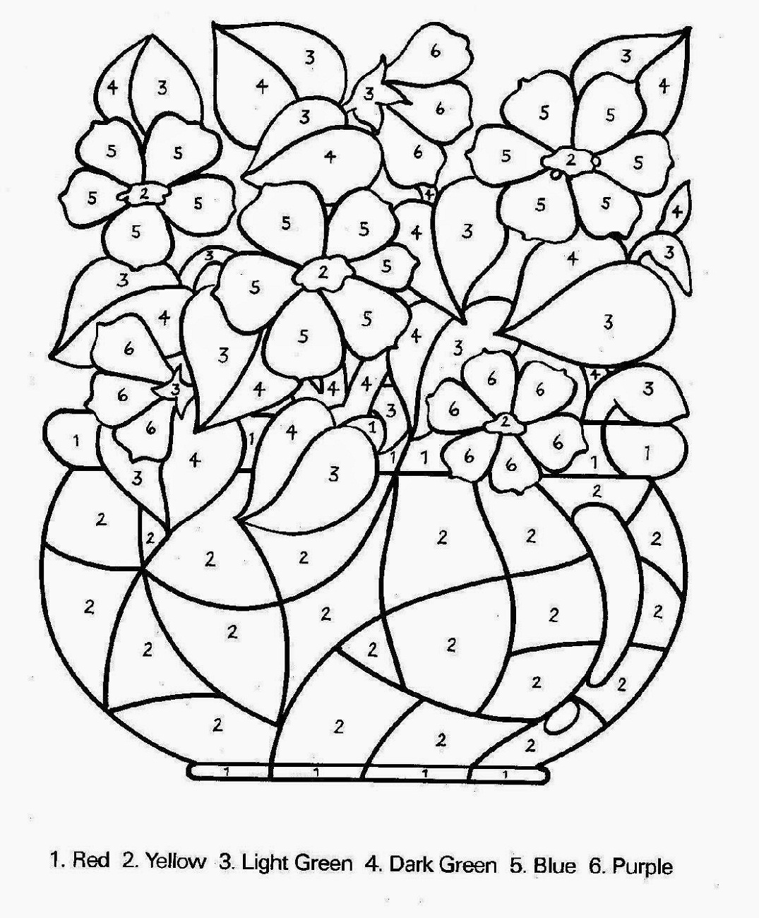 color by number for older kids flower