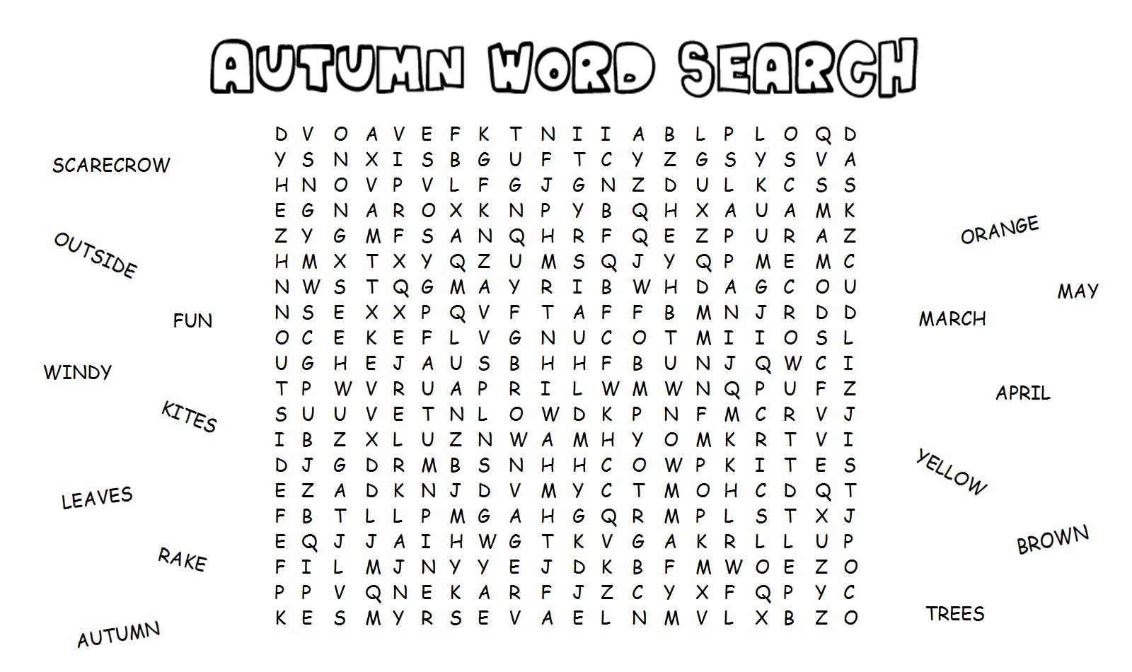 fall word search for brain training activity shelter