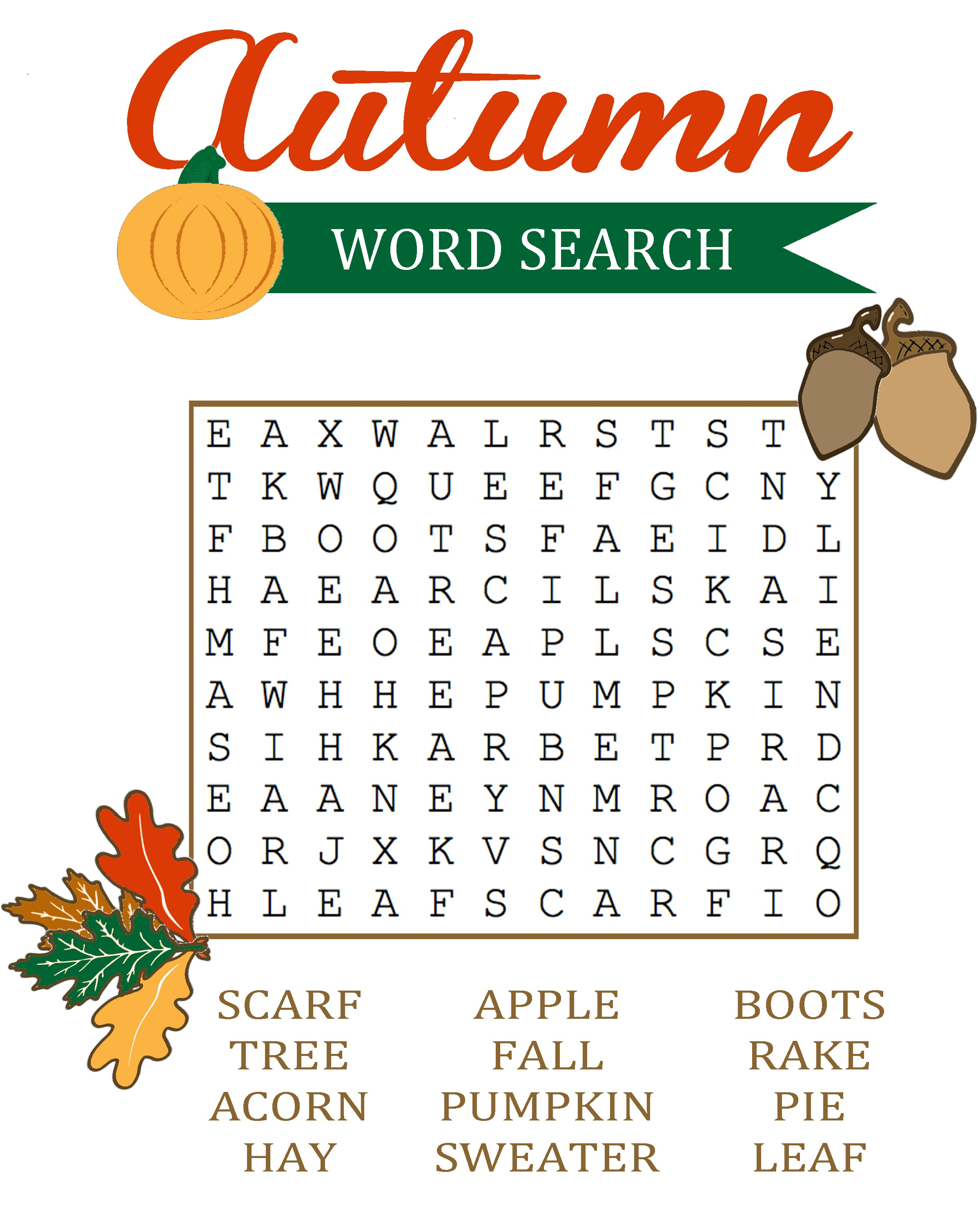 fall word search nice