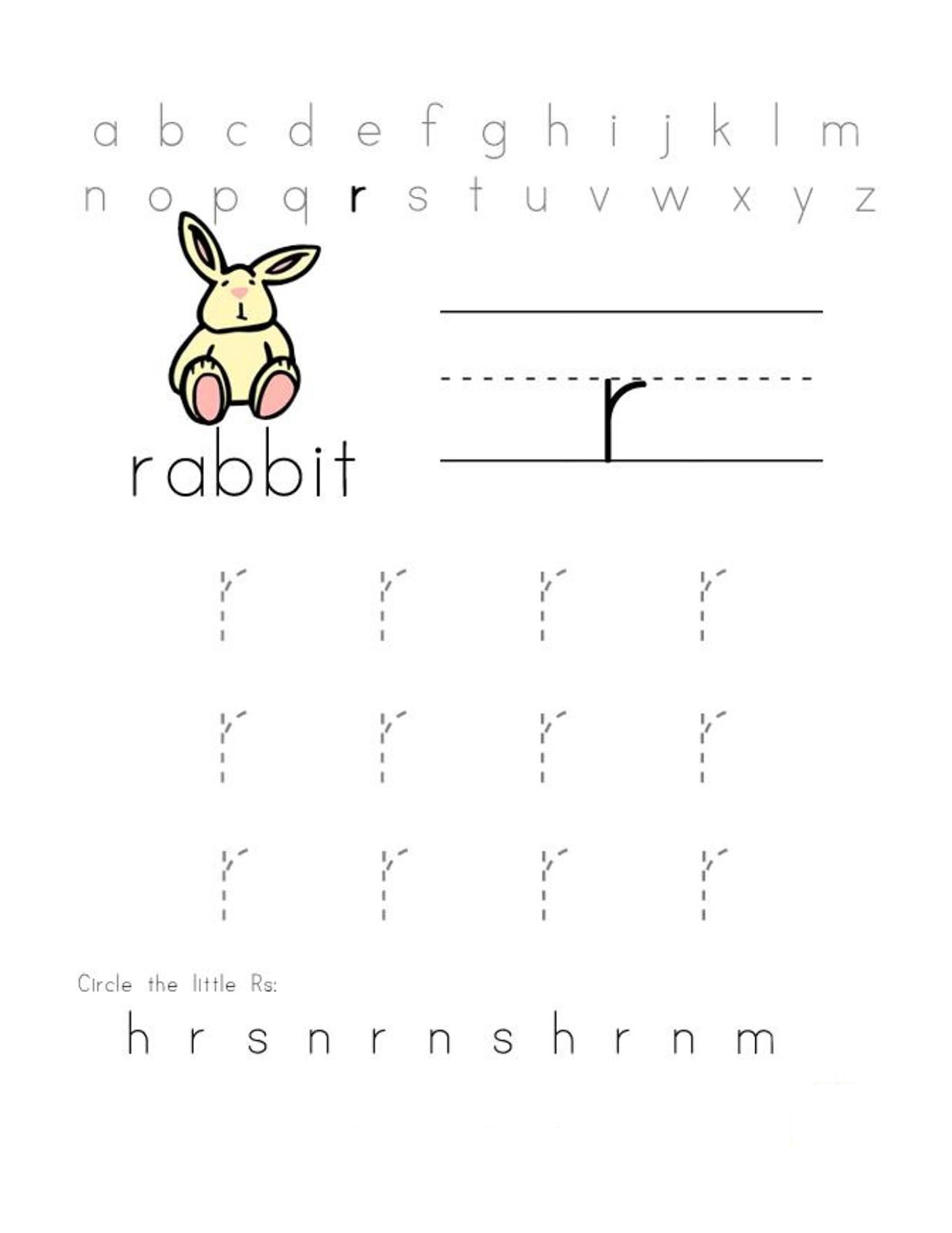 free preschool printables letter R