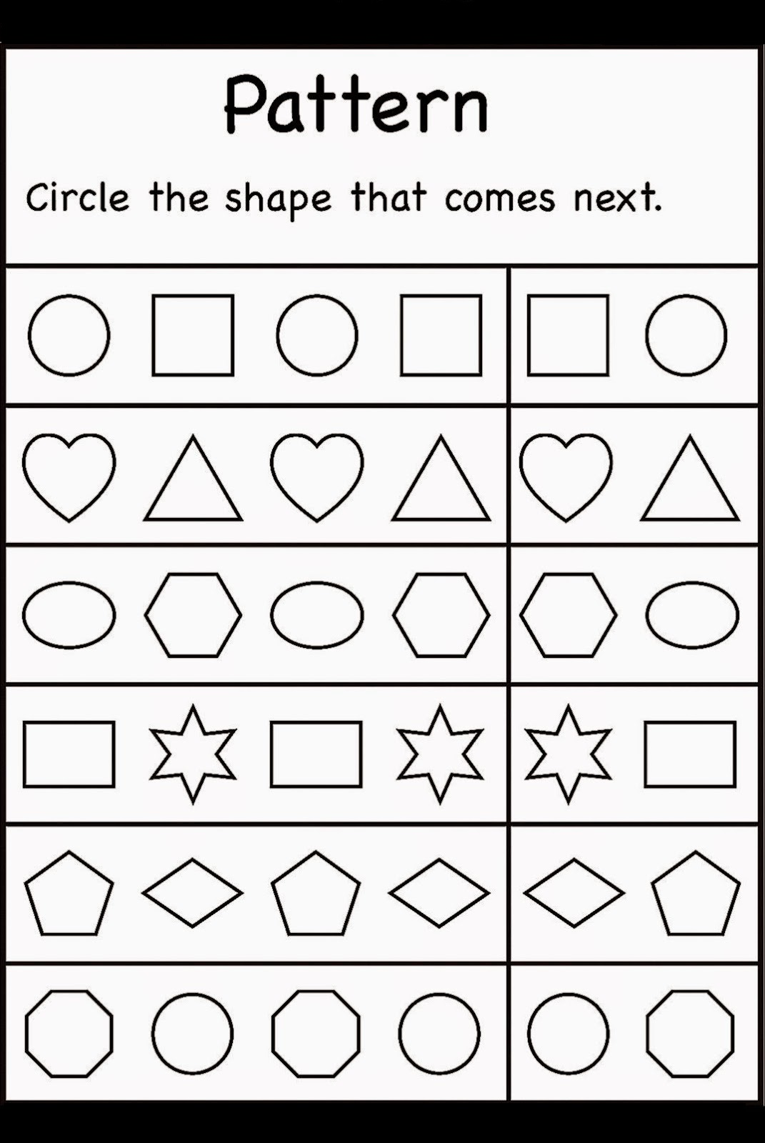 free preschool printables shapes