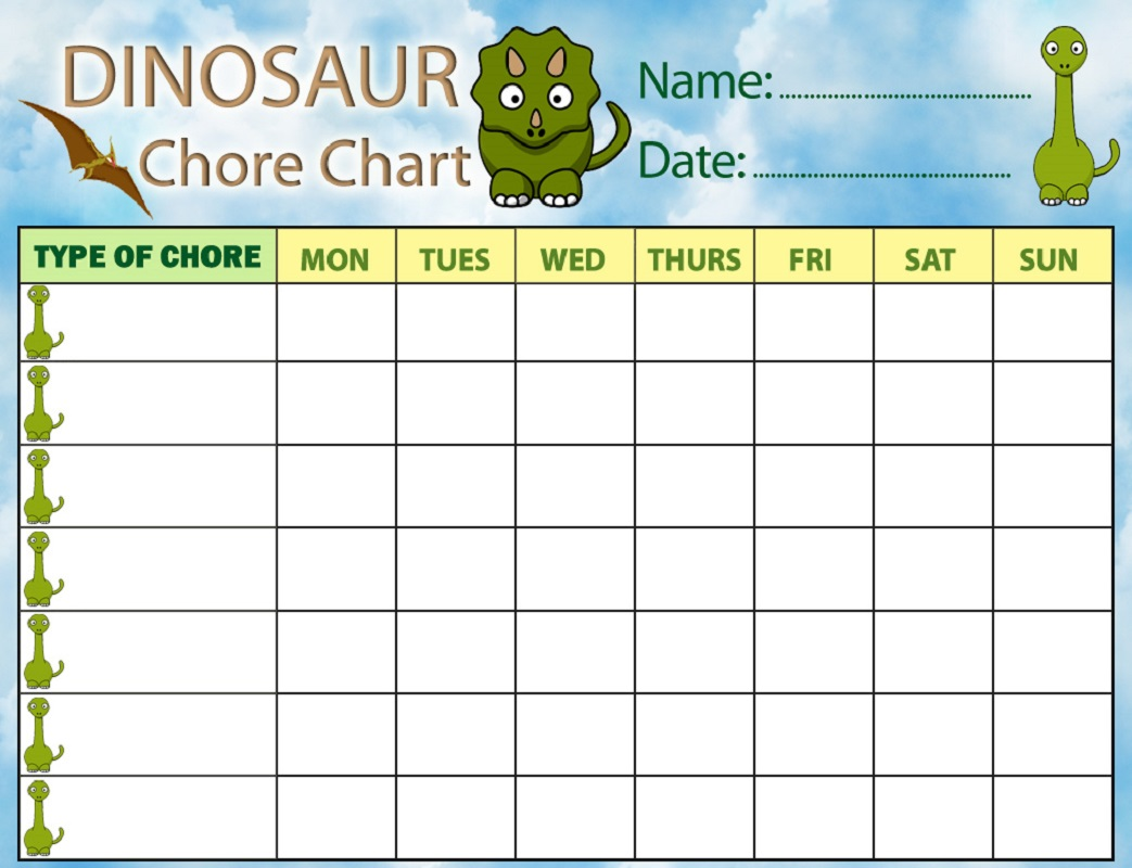 free printable chore charts dinosaurs theme