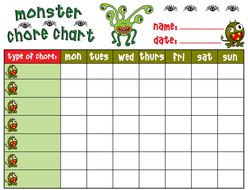 Free Printable Chore Charts for Kids | Activity Shelter
