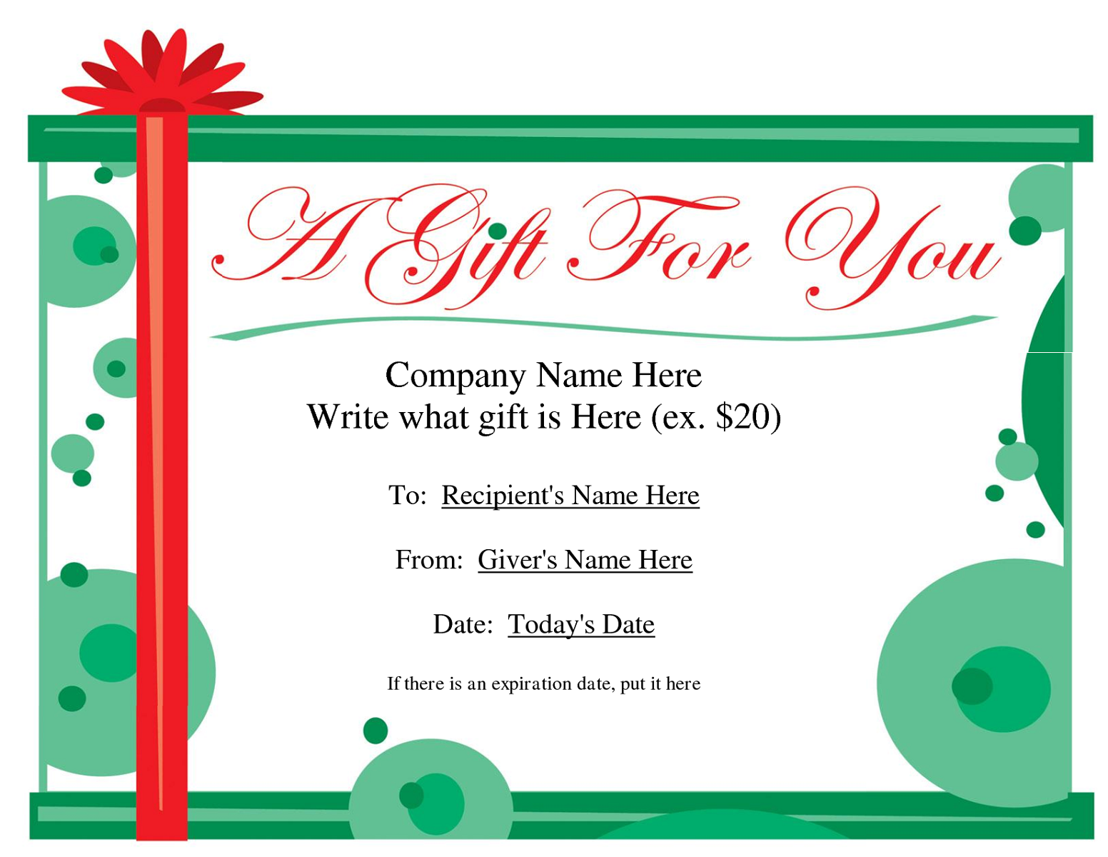 gift certificate template for workers