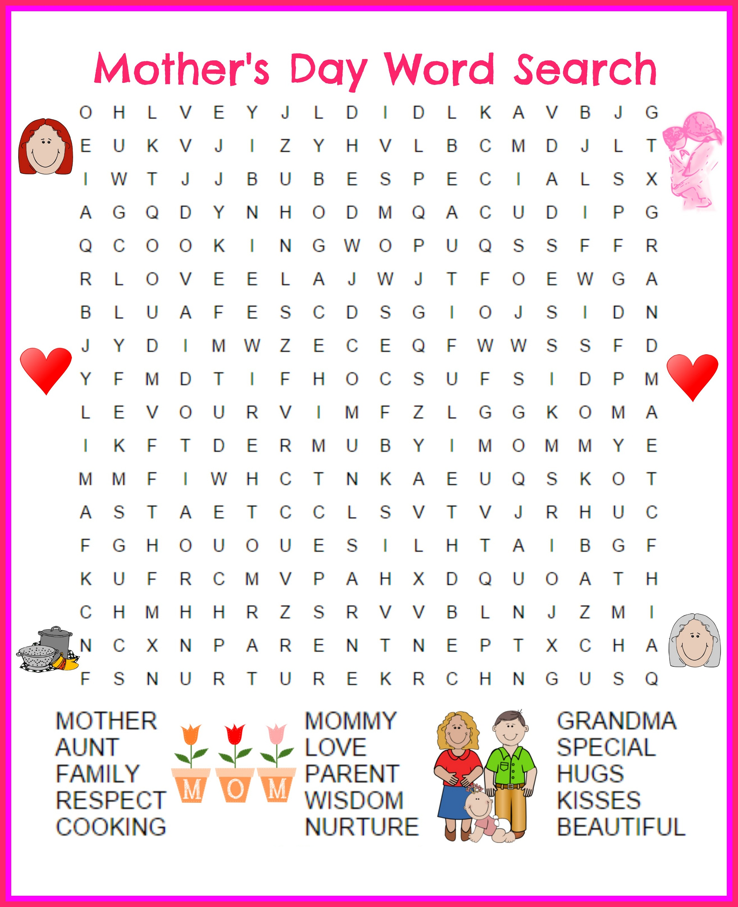 great day word search mother's day