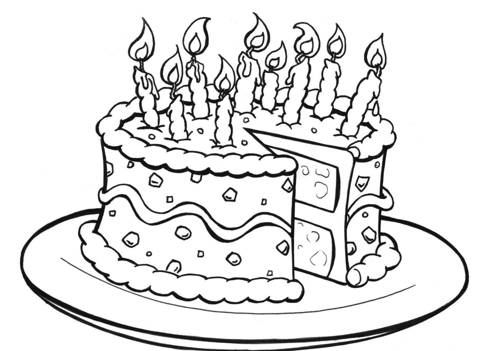 happy birthday color page cake