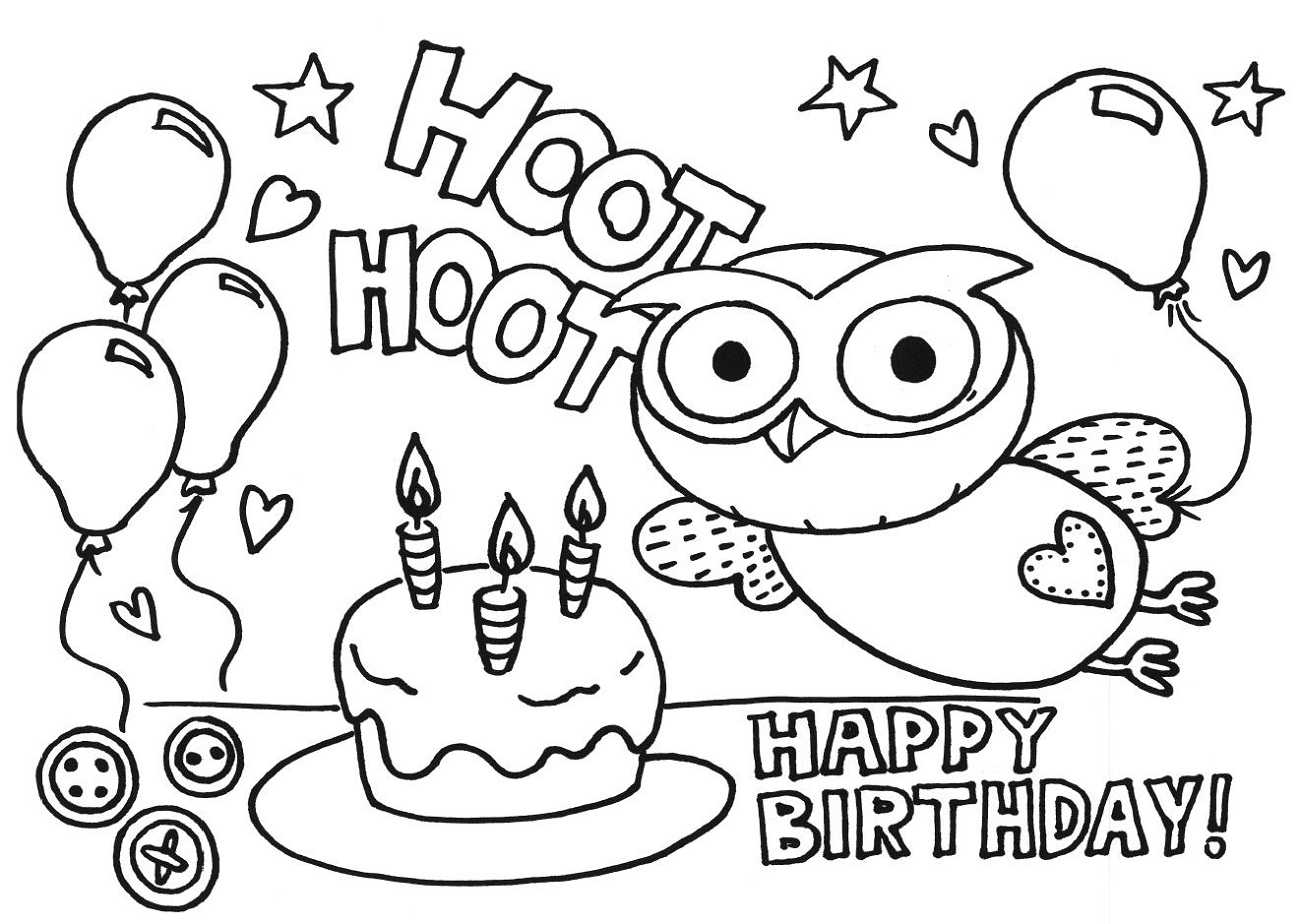 happy birthday color page for kids