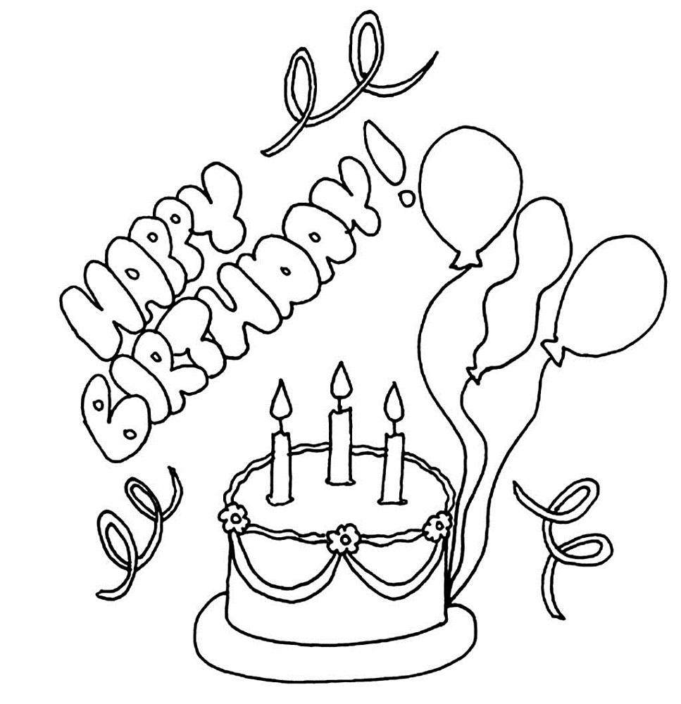 happy birthday color page free